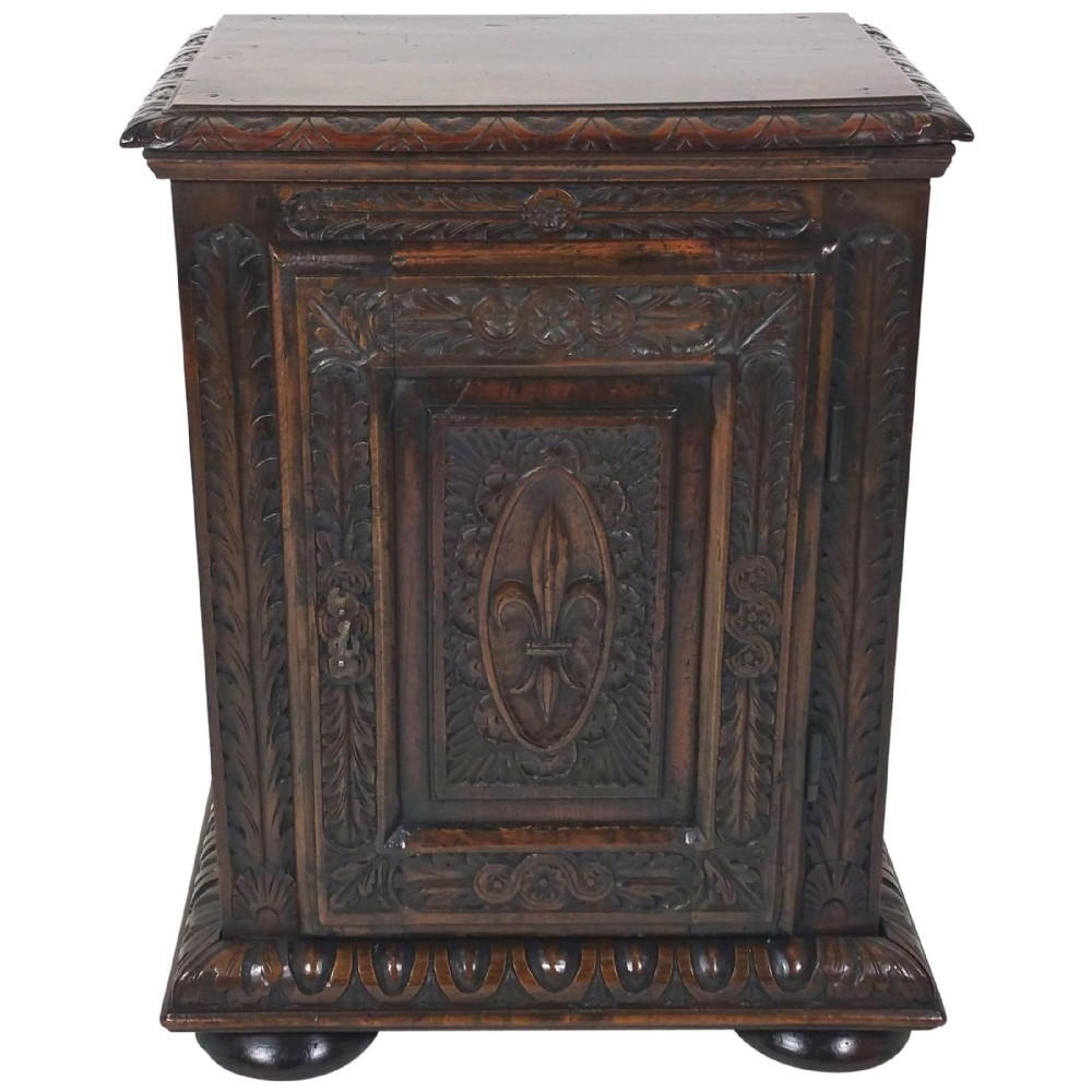 18th c french carved walnut single door side cupboard