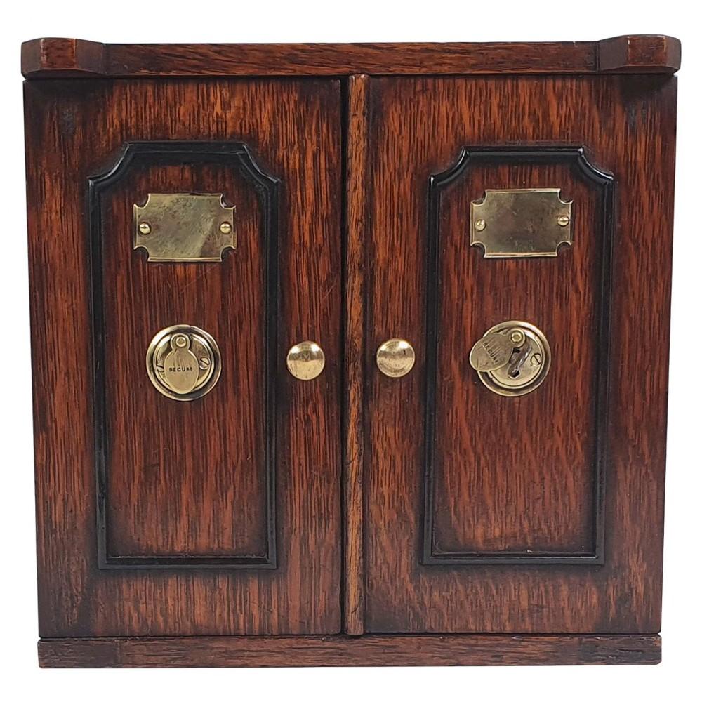 superb victorian oak table top collectors cabinet