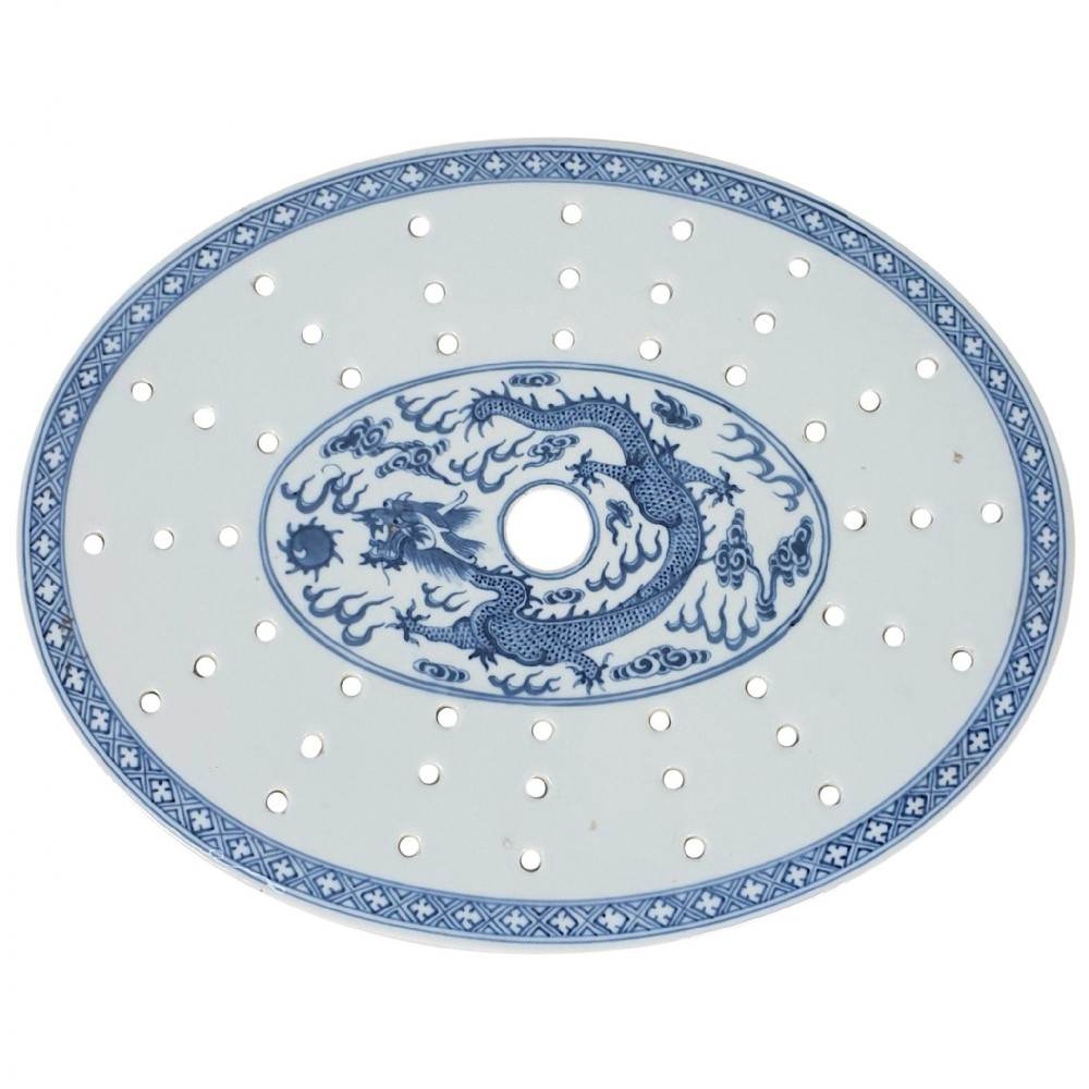 chinese 19th c blue and white oval strainer dish