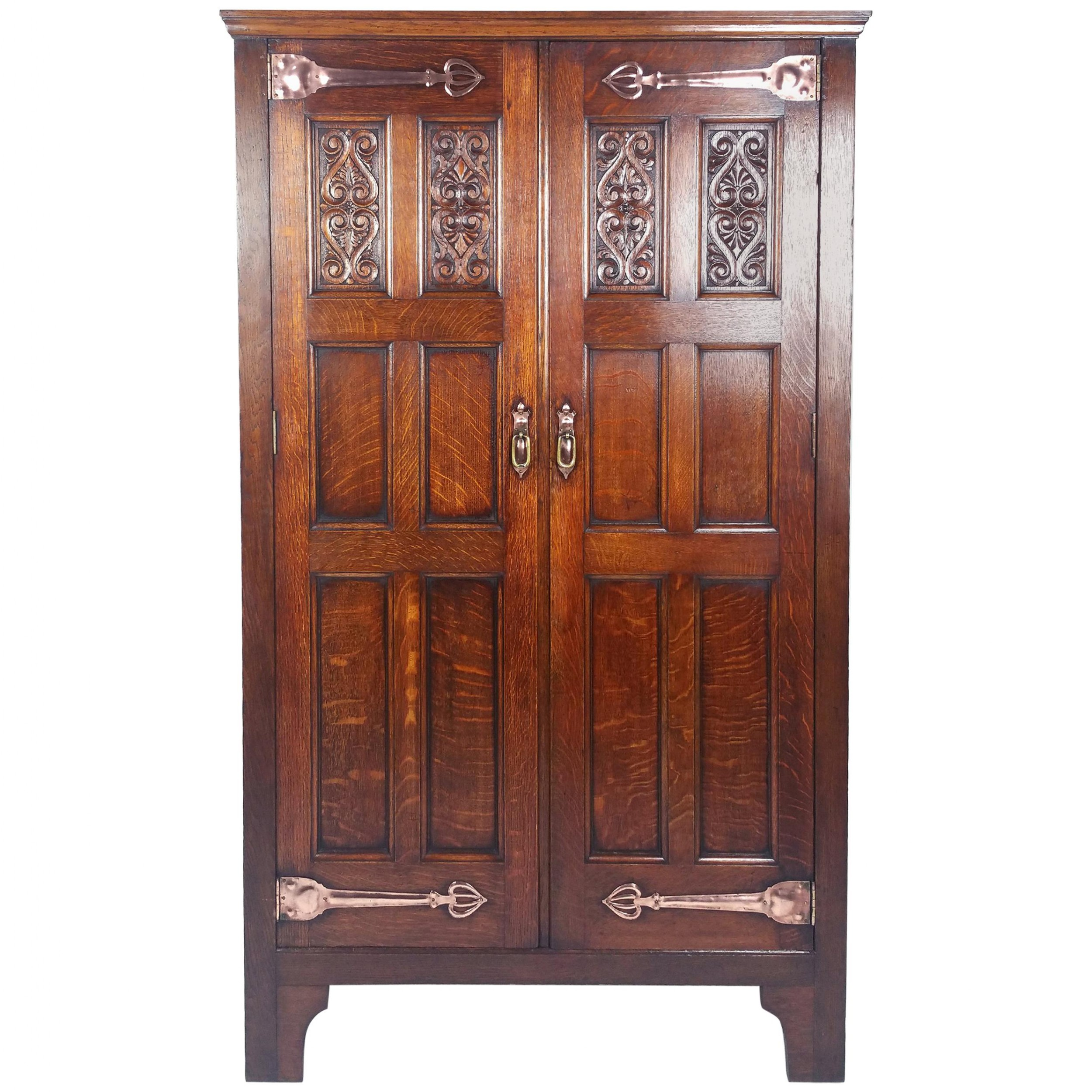 late 19th c arts and crafts 2 door hall wardrobe with ornate mounts