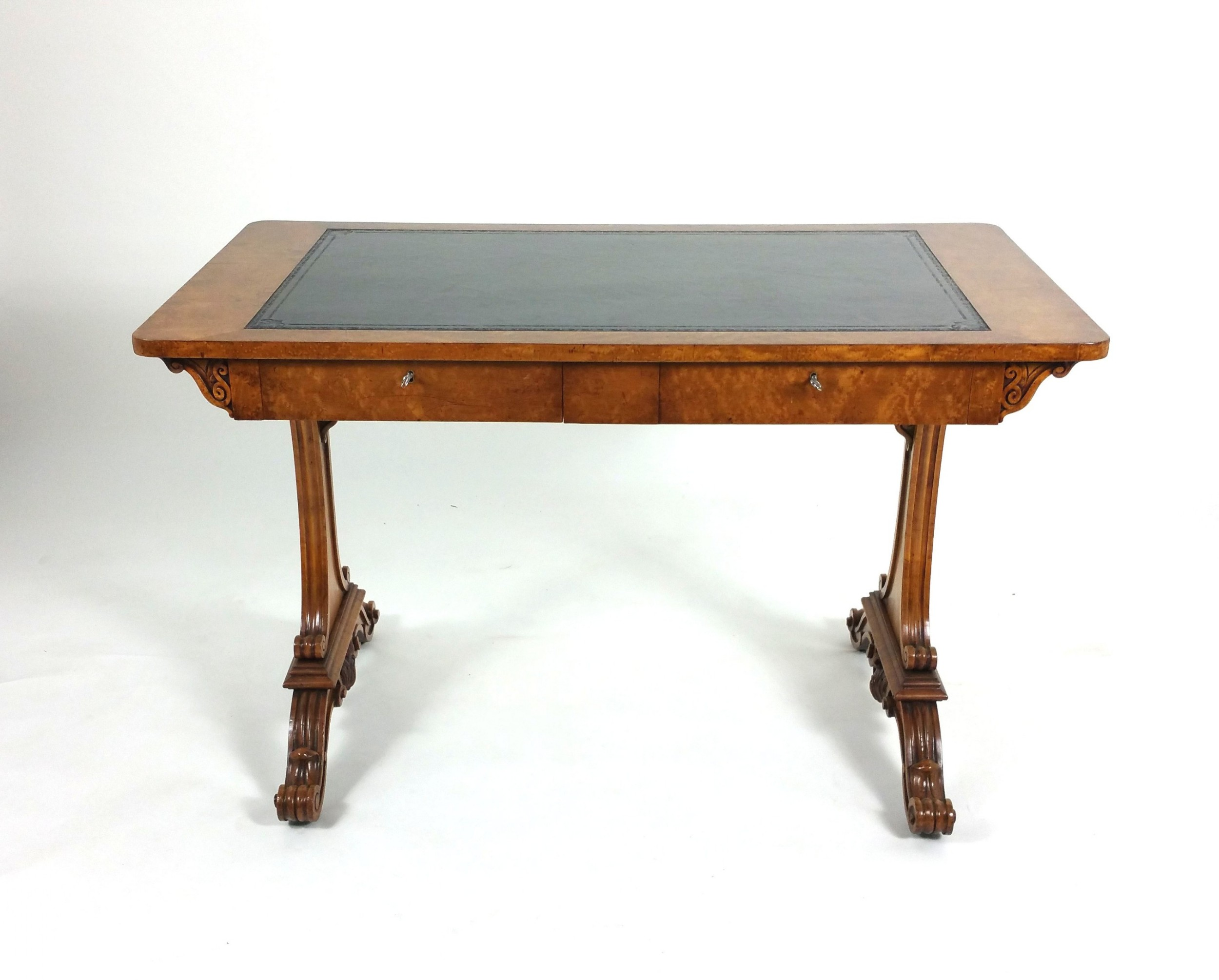 early 19th c satin birch 2 drawer library table