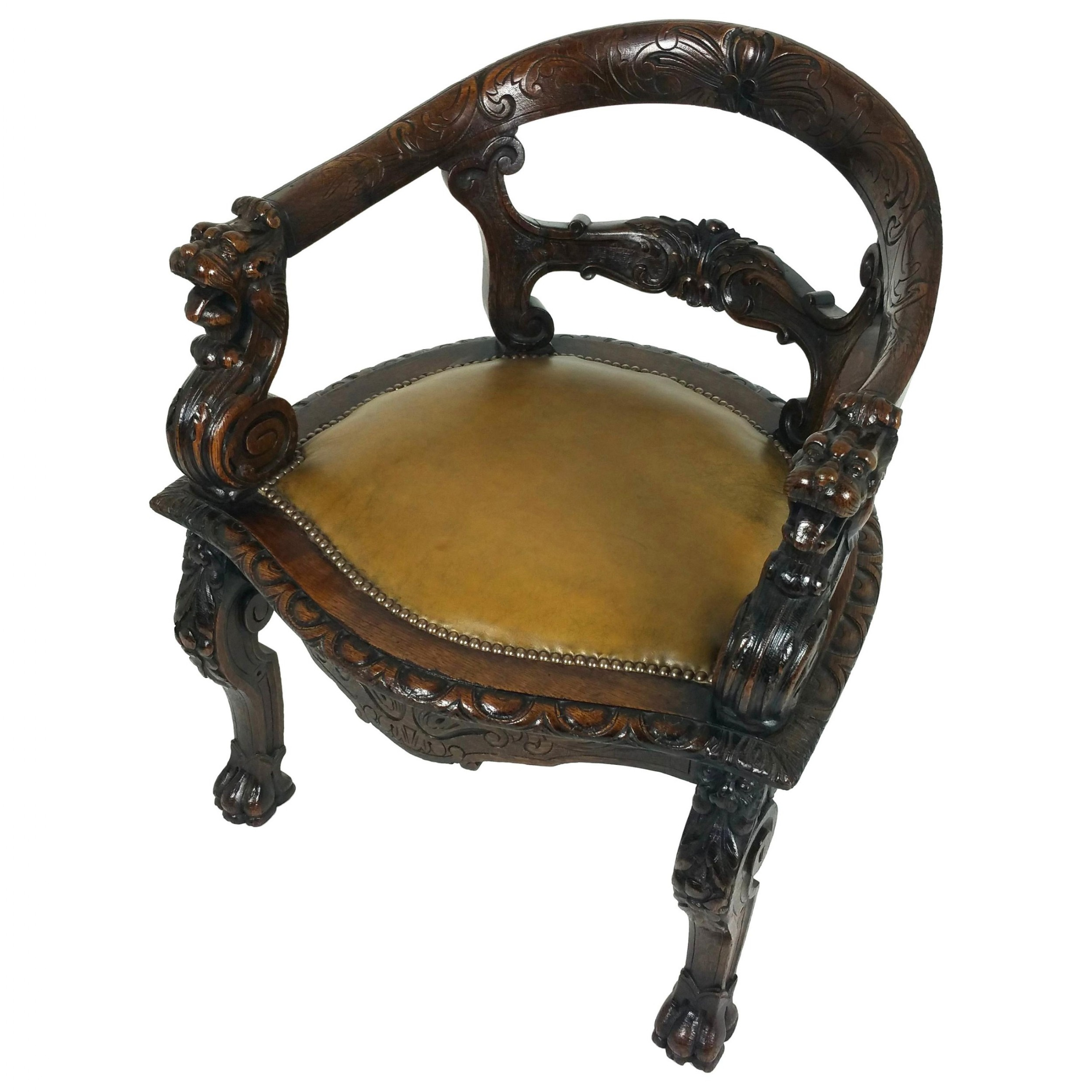 midvictorian carved oak tub shaped desk chair
