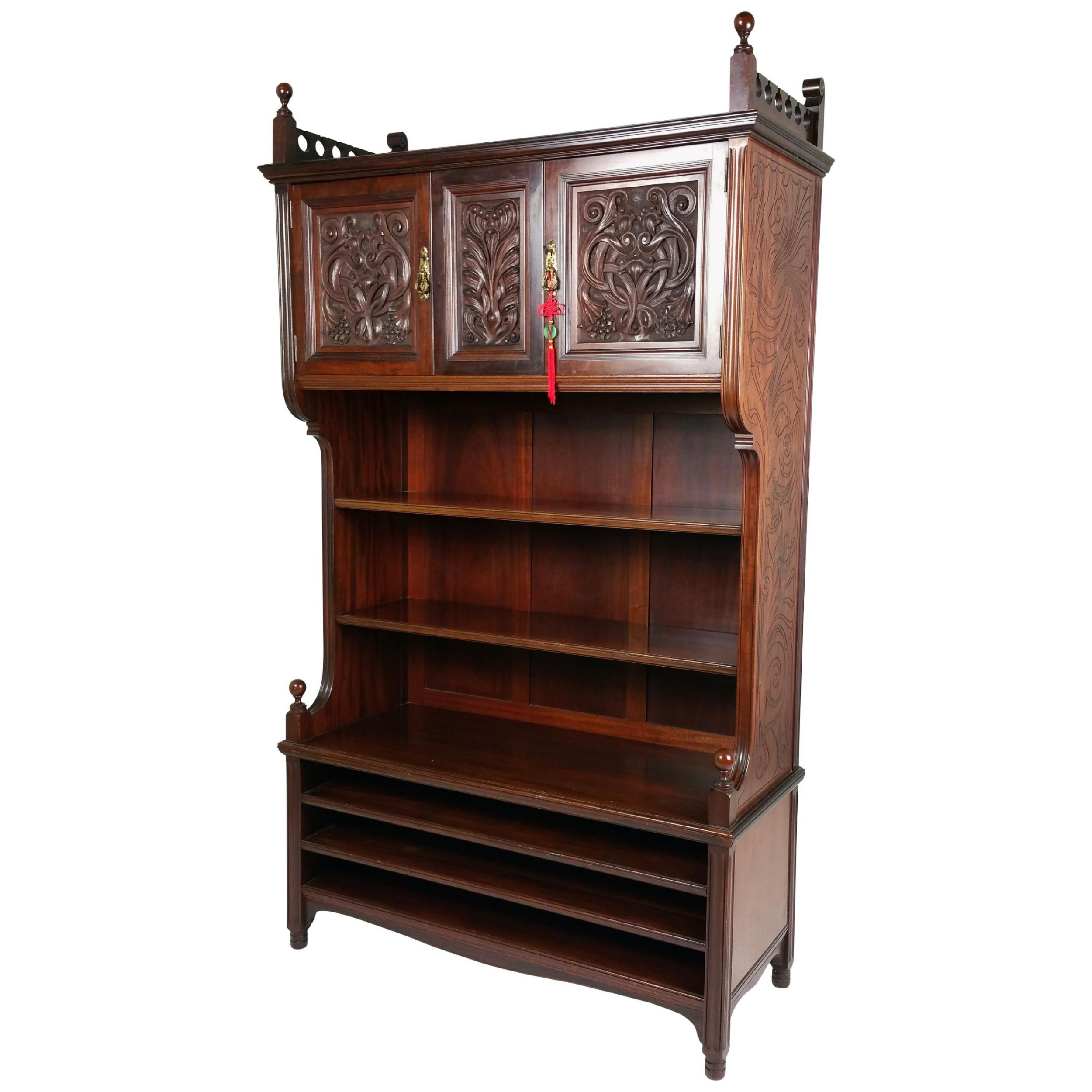 fine 19th c arts and crafts carved walnut open bookcase