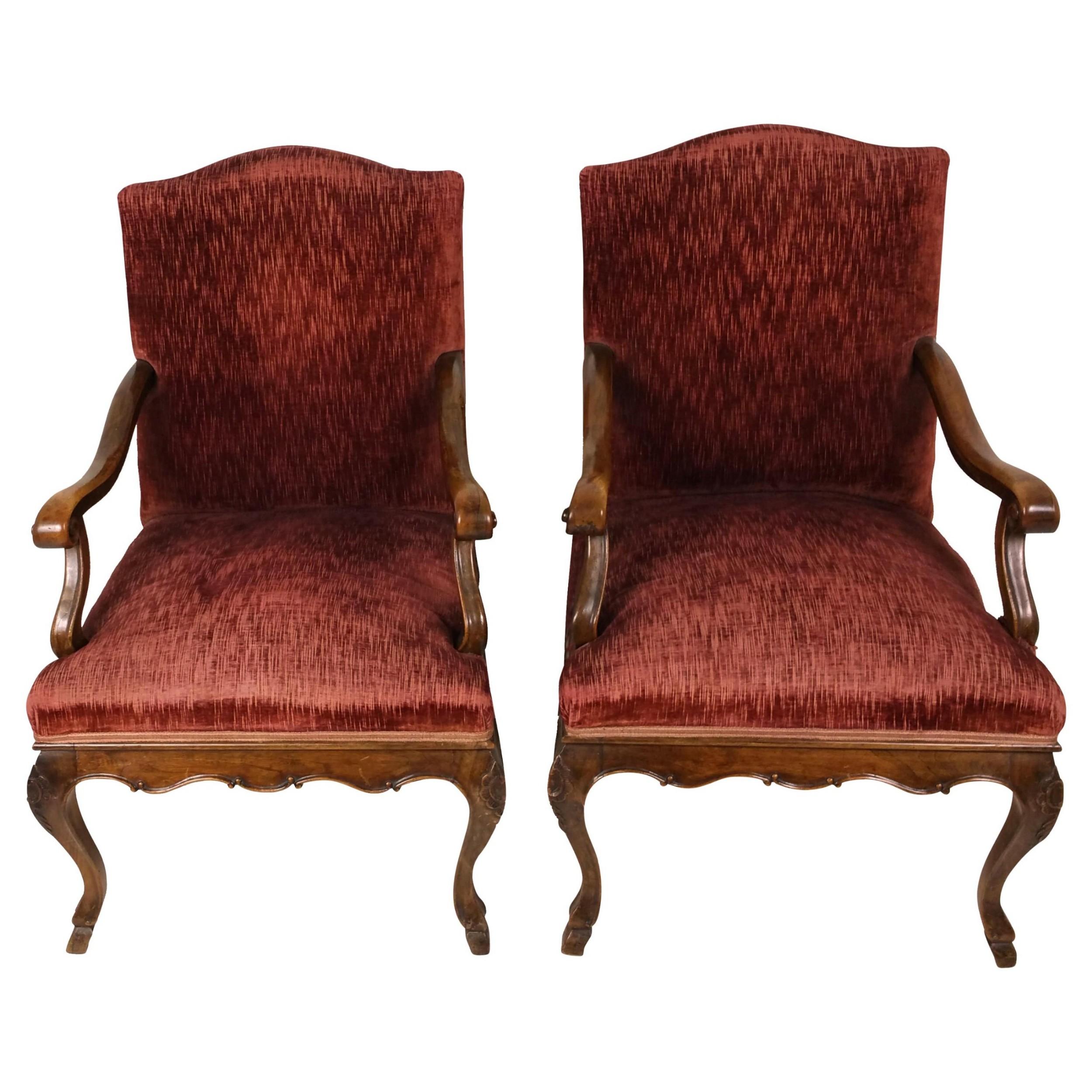 pair of large 19th c french solid walnut upholstered chairs