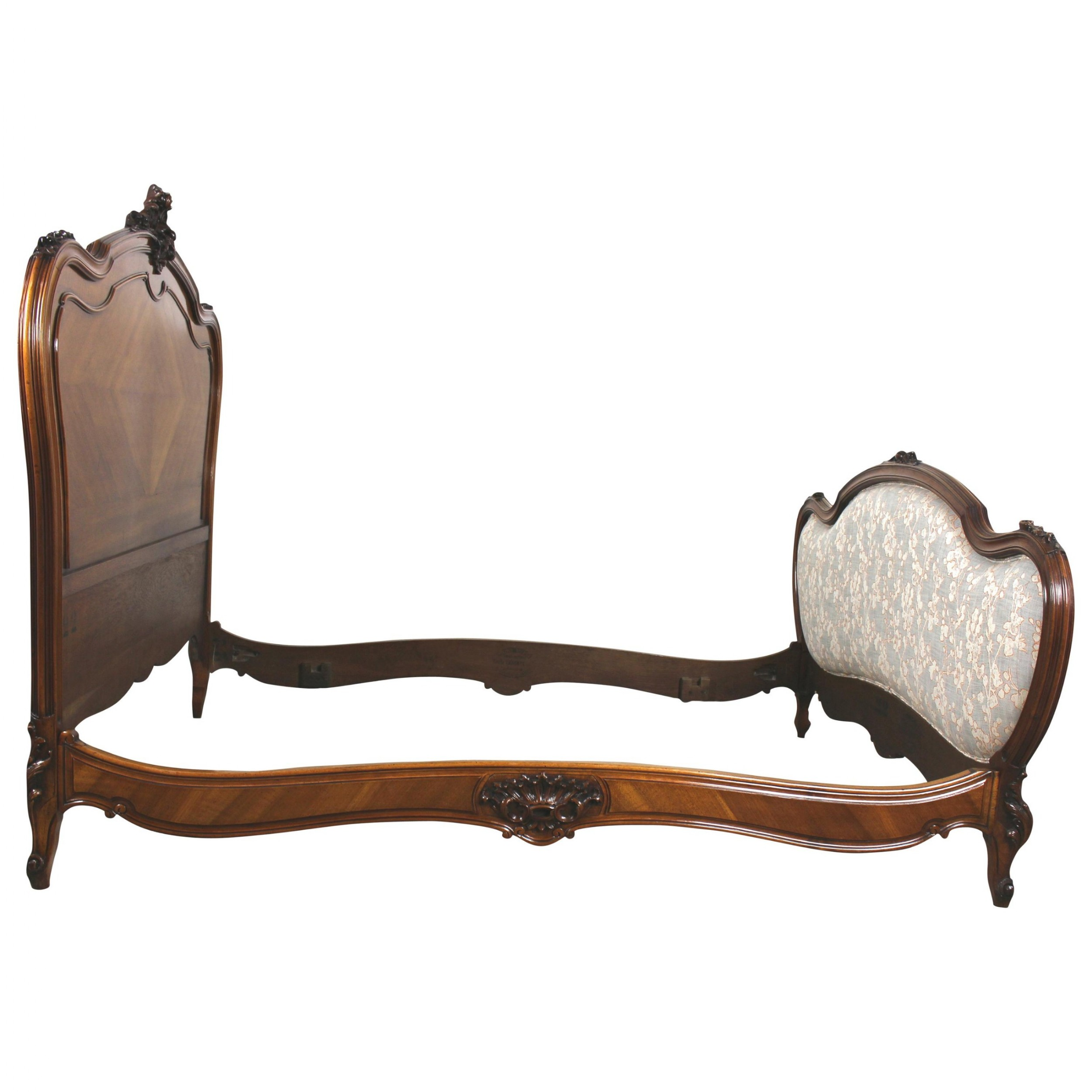 19th century french carved walnut framed bed