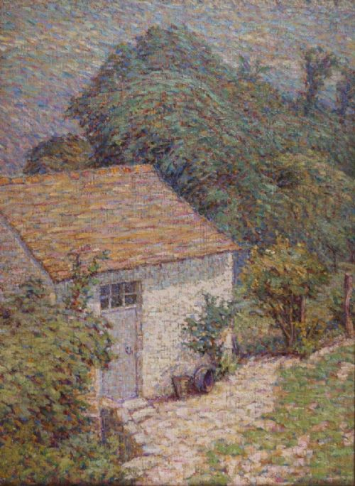 potting shed in the artists garden at crozant by wynford dewhurstmanchesters monetoil on canvas