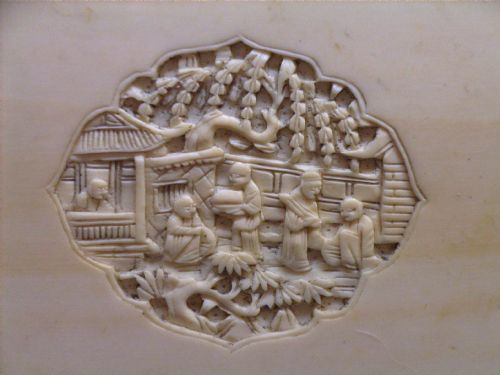 Antique Chinese Ivory Jewelry Box Cantonese 505410