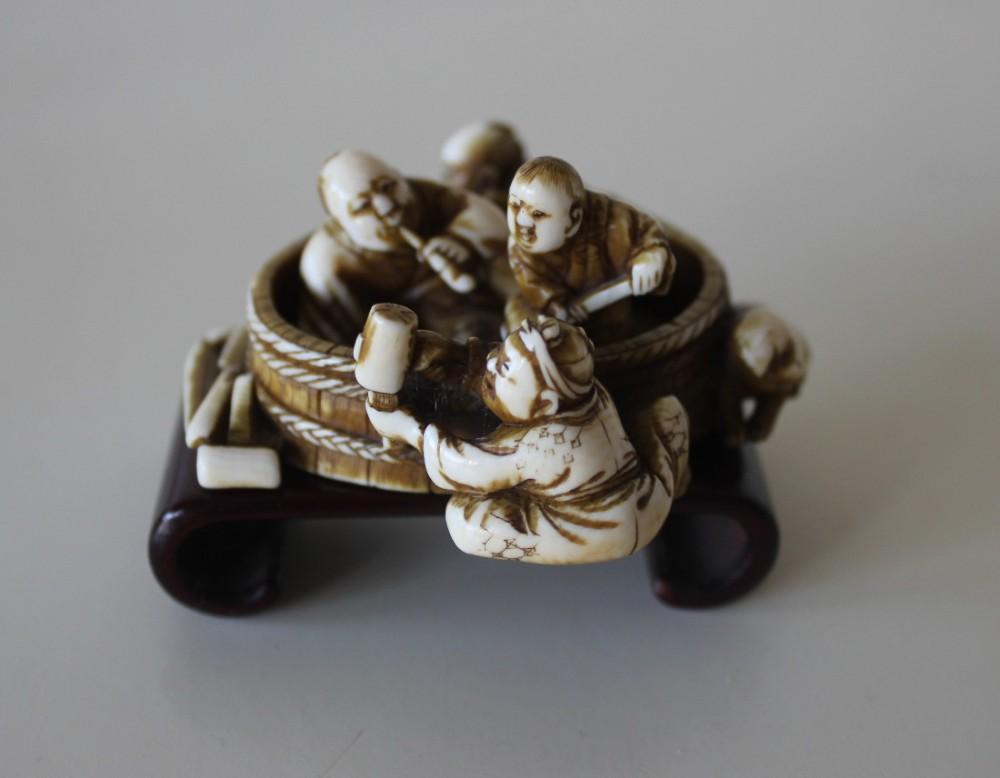 antique meiji ivory okimono barrel makers tomoyuki