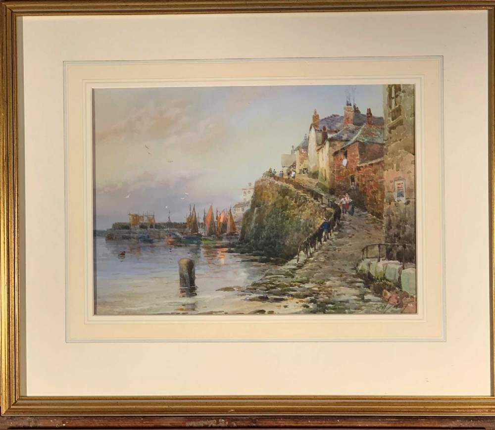 walter henry sweet 1889 1943 antique watercolour newlyn old harbour