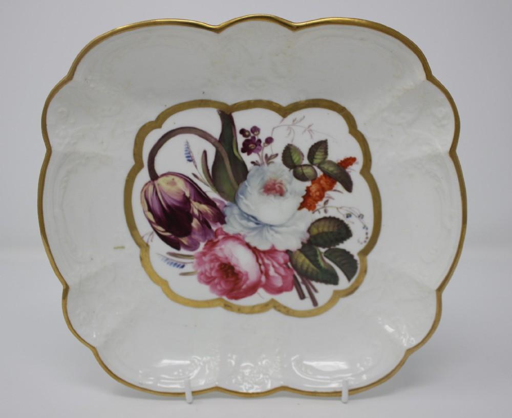 antique hand painted coalport lobed dish floral bouquet circa 1820