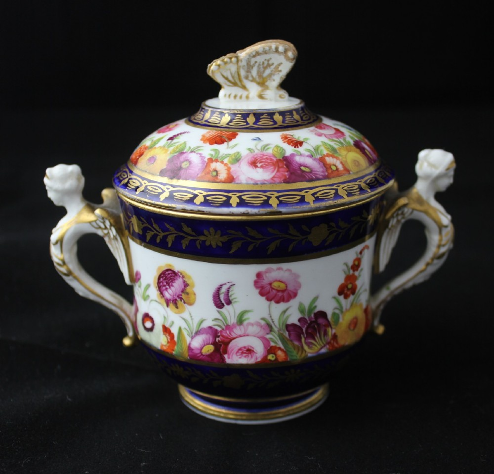 early 19th century likley coalport chocolate cup and cover attrib daniel evans