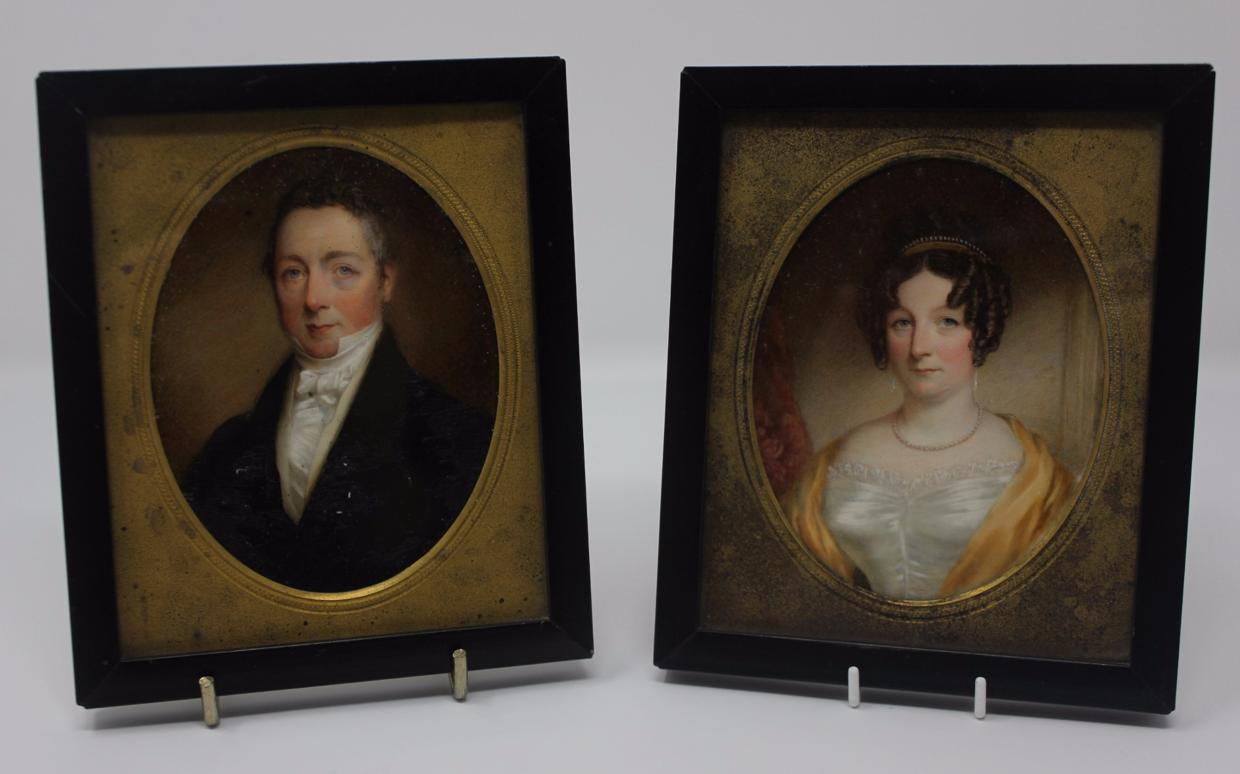 lovely pair early 19th century portrait miniatures oil on ivory