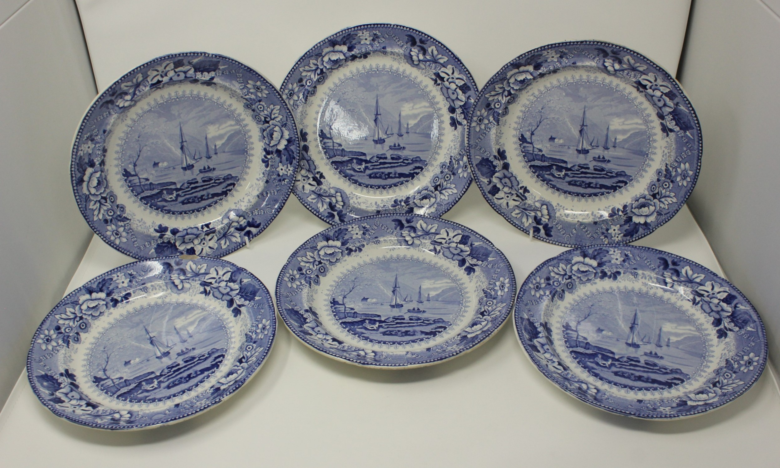 antique set 6 pearlware blue and white transferware dinner plates st vincents rocks