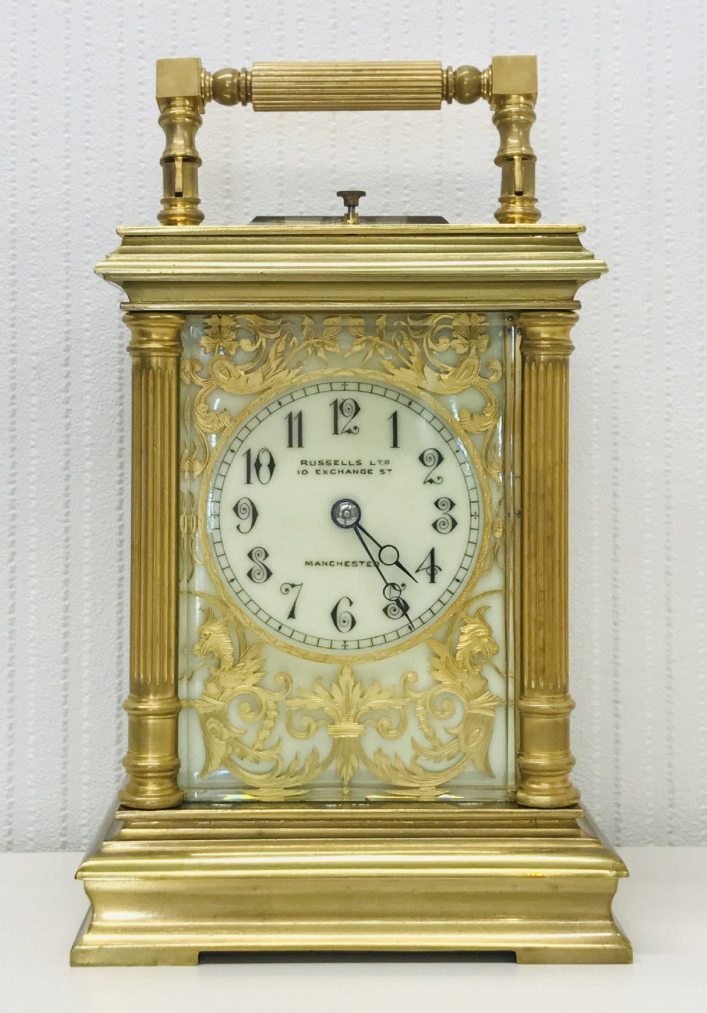 8 day engraved carriage clock