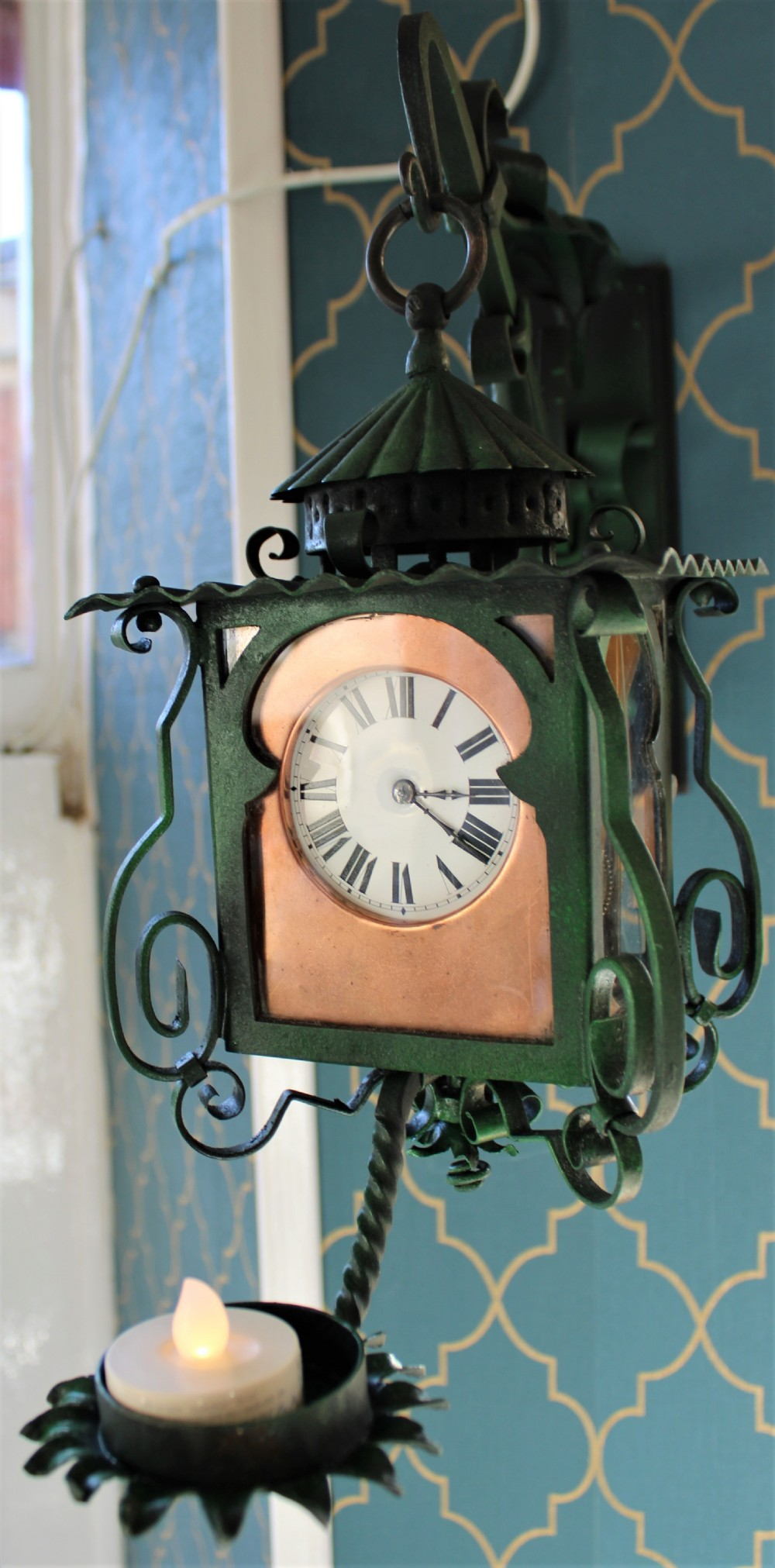 arts and crafts style 'lantern' clock