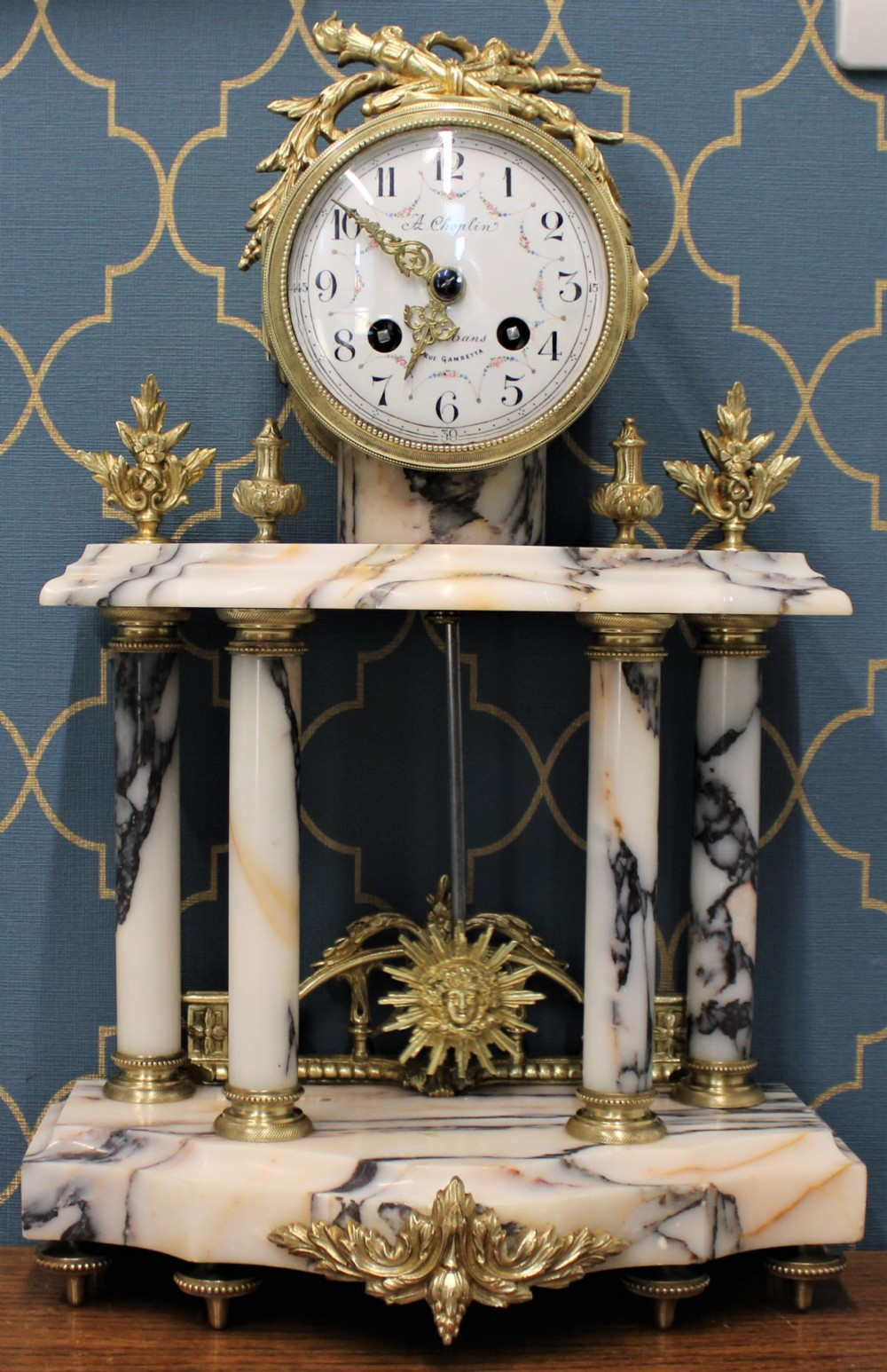 solid marble 8 day french portico clock
