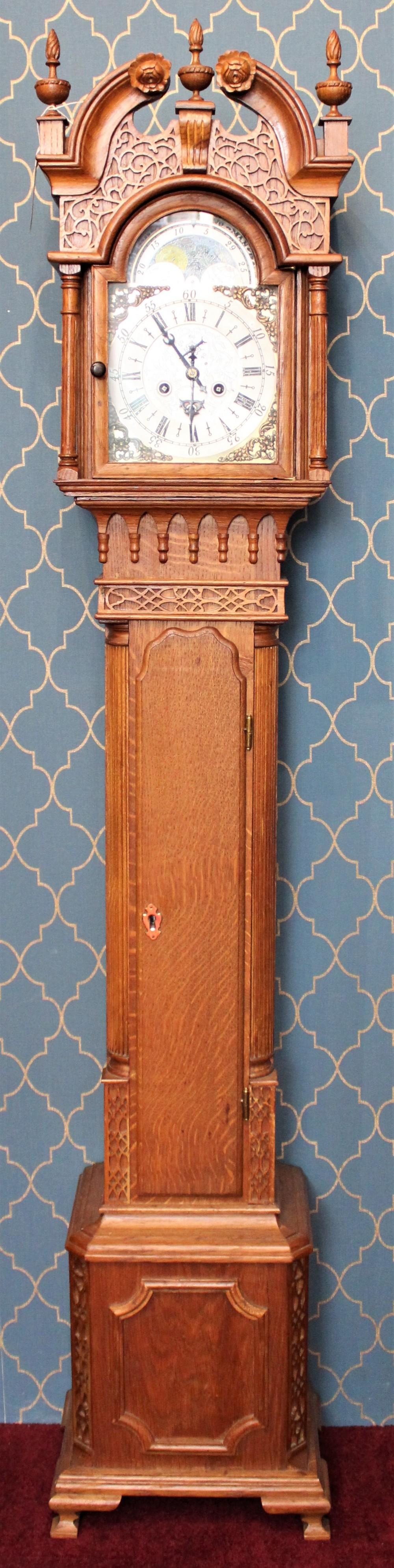 8 day oak cased brass dial grandmother clock