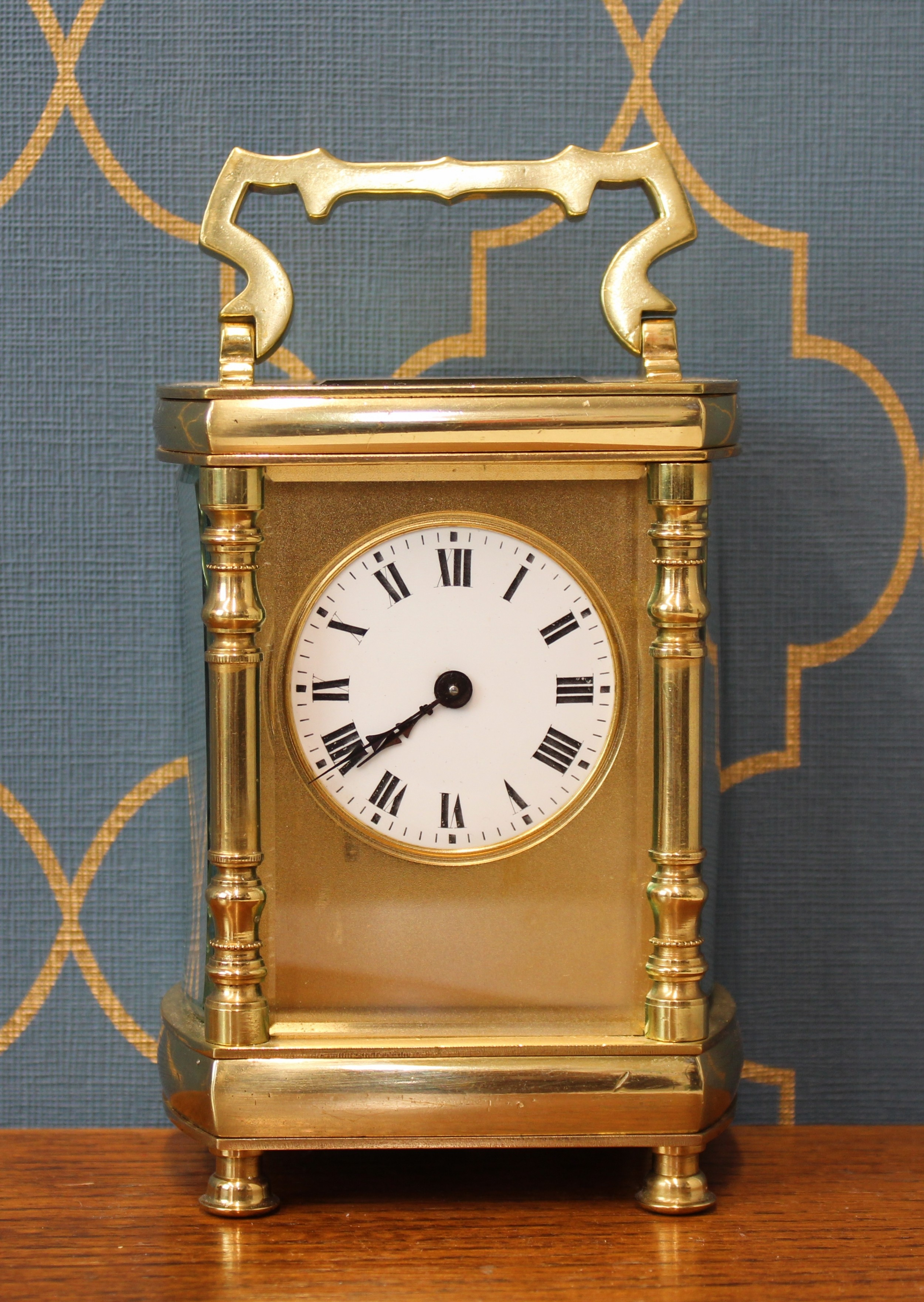 gold plated late 19th century french carriage timepiece