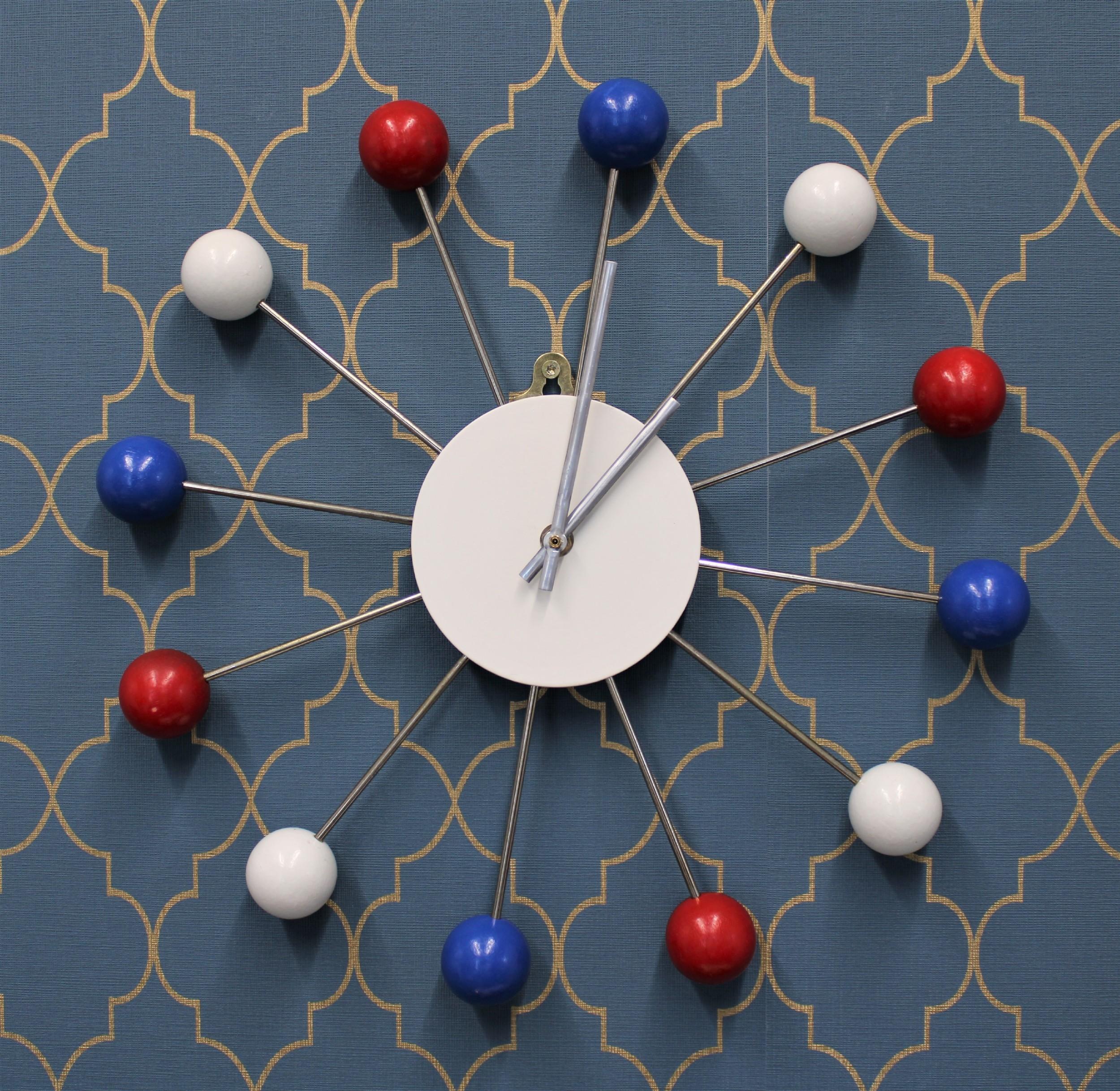 atomic era style quartz wall clock