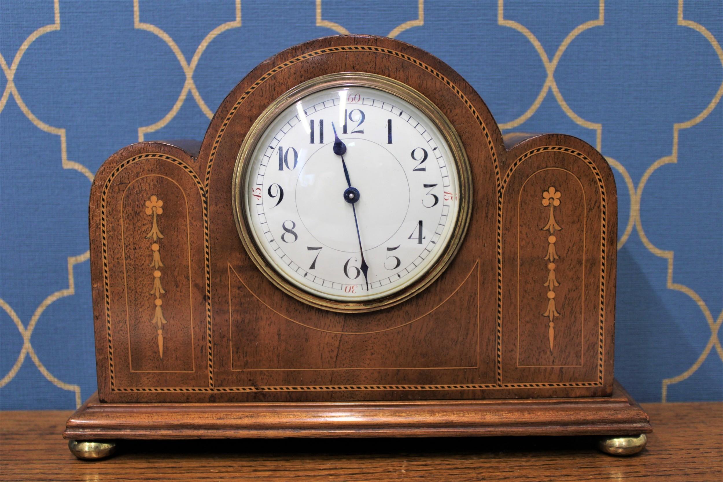 french light oak art deco mantel clock