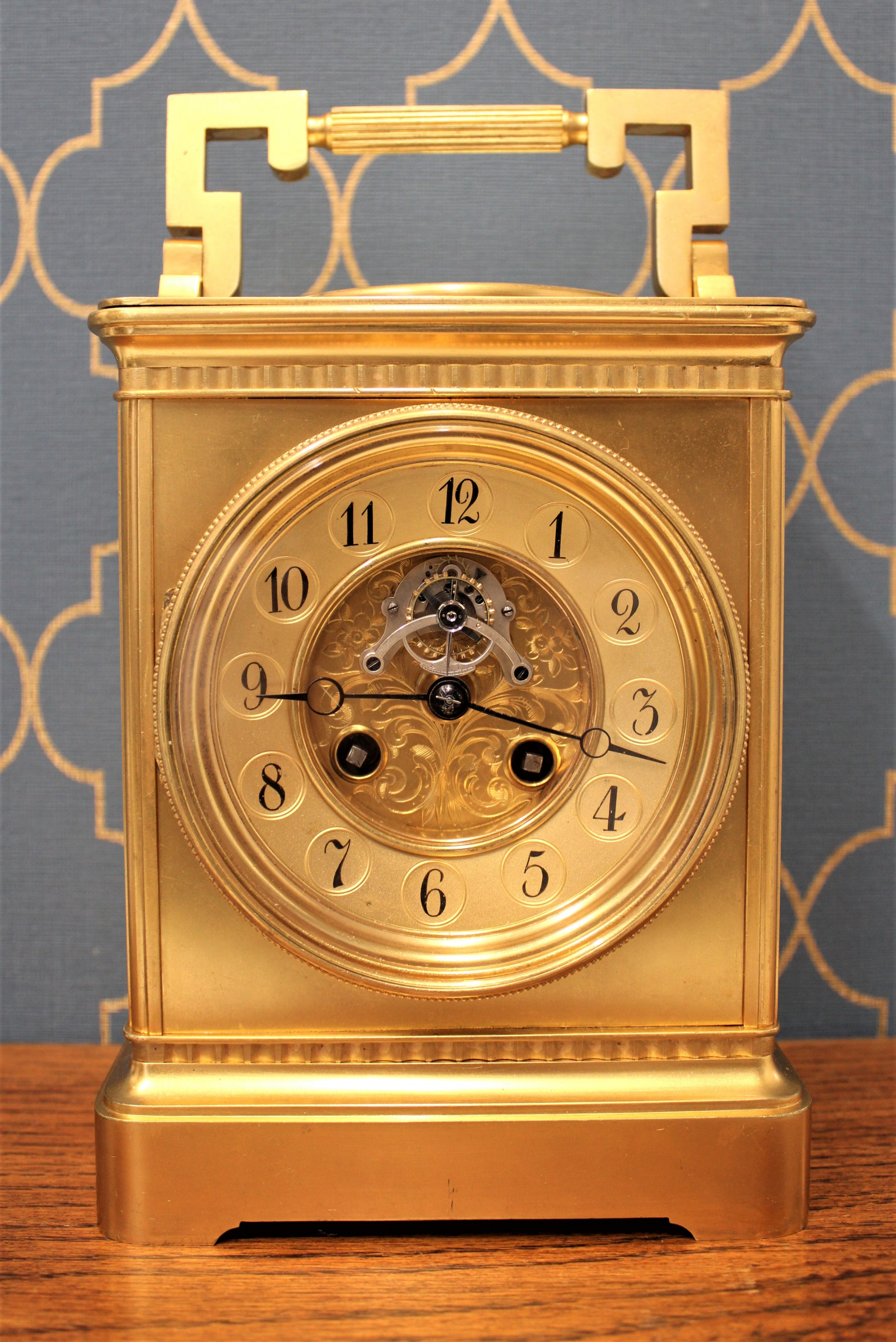 french 8 day thermometercompass carriage clock