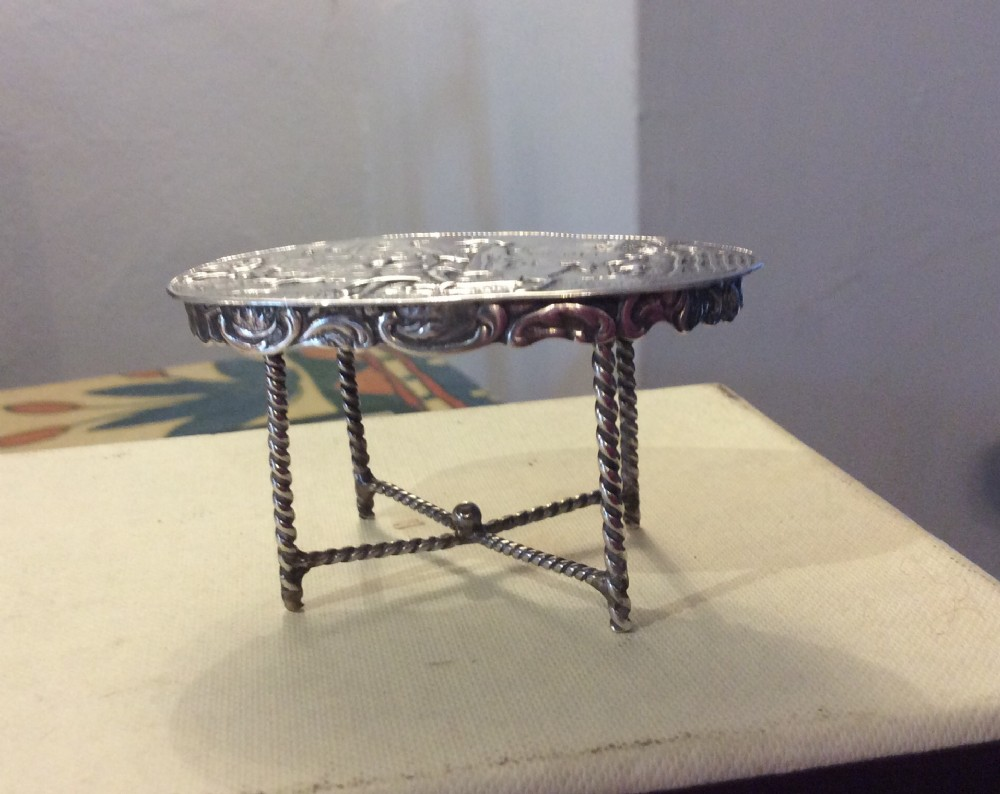 miniature silver oval table