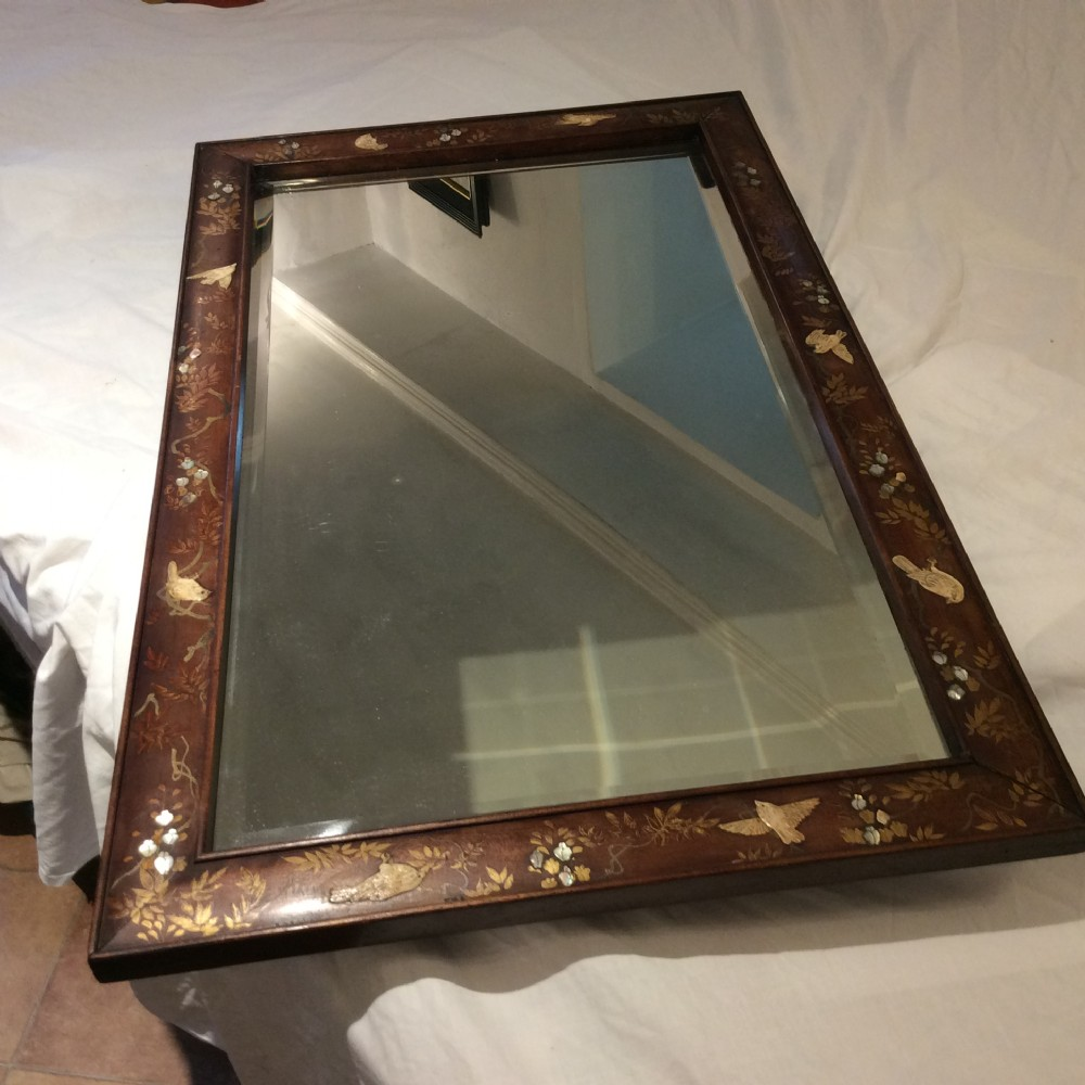 shibayama decorated oriental hardwood mirror