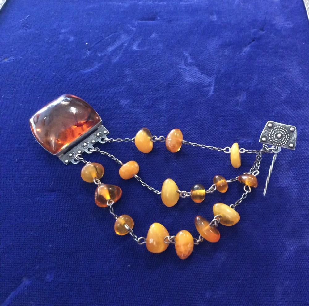 russian baltic amber cloakbrooch pin