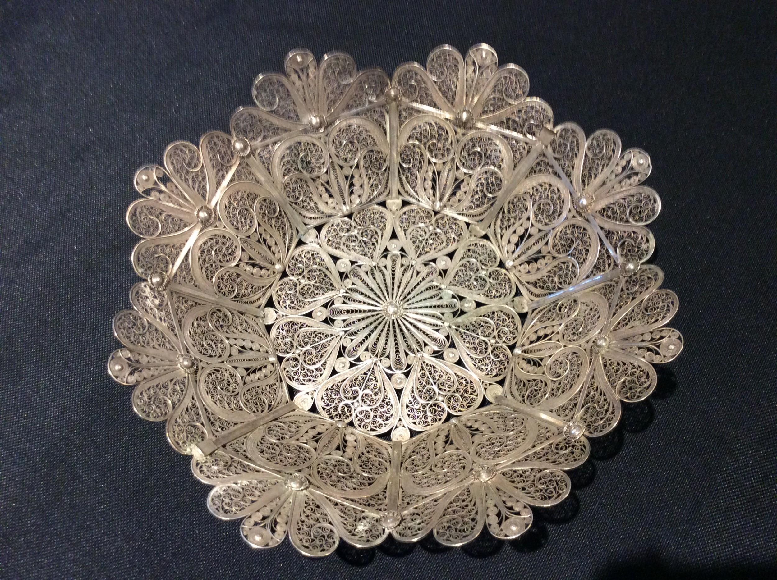 silver filigree basket