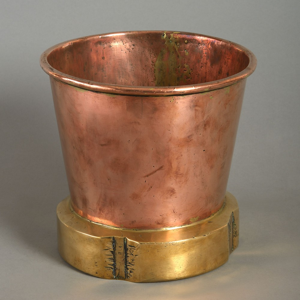 19th century victorian period brass copper cooler or planter