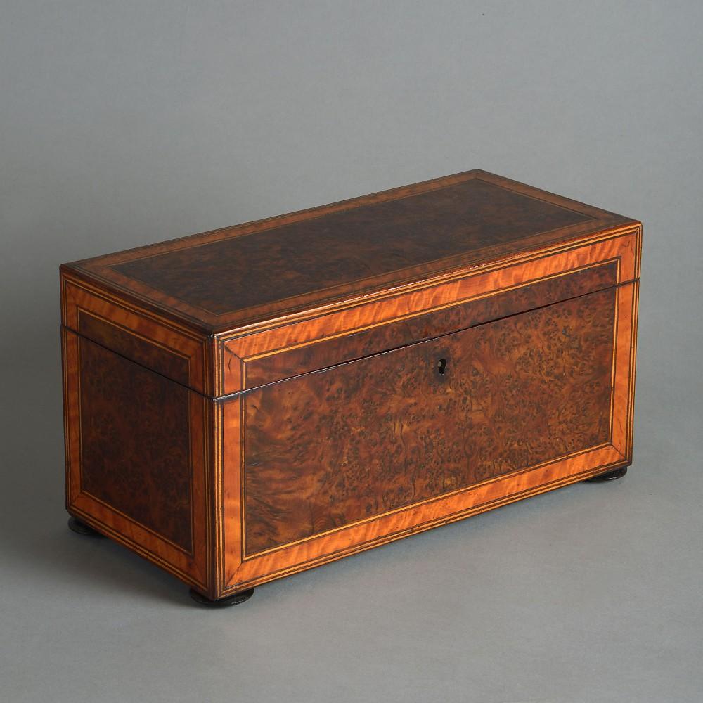 18th century burr elm tea caddy
