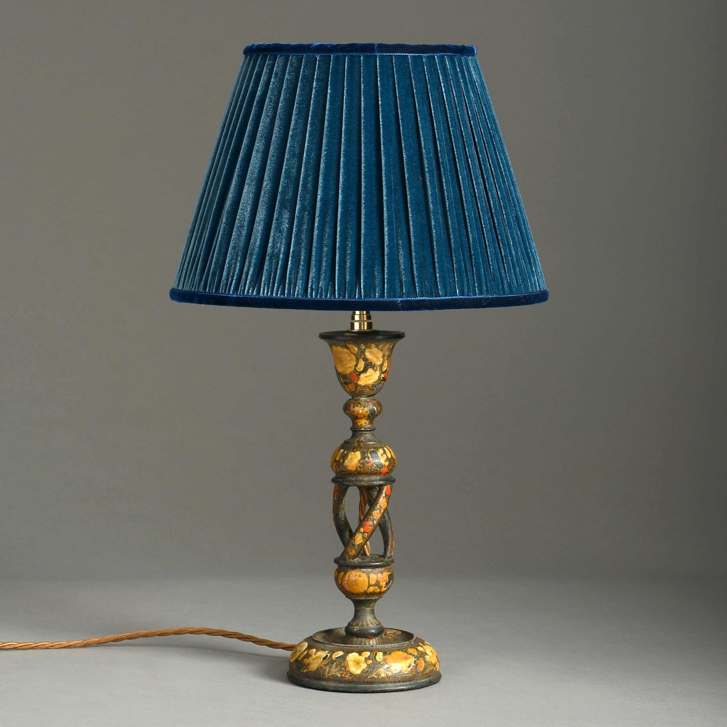 early 20th century kashmiri lacquer barley twist table lamp