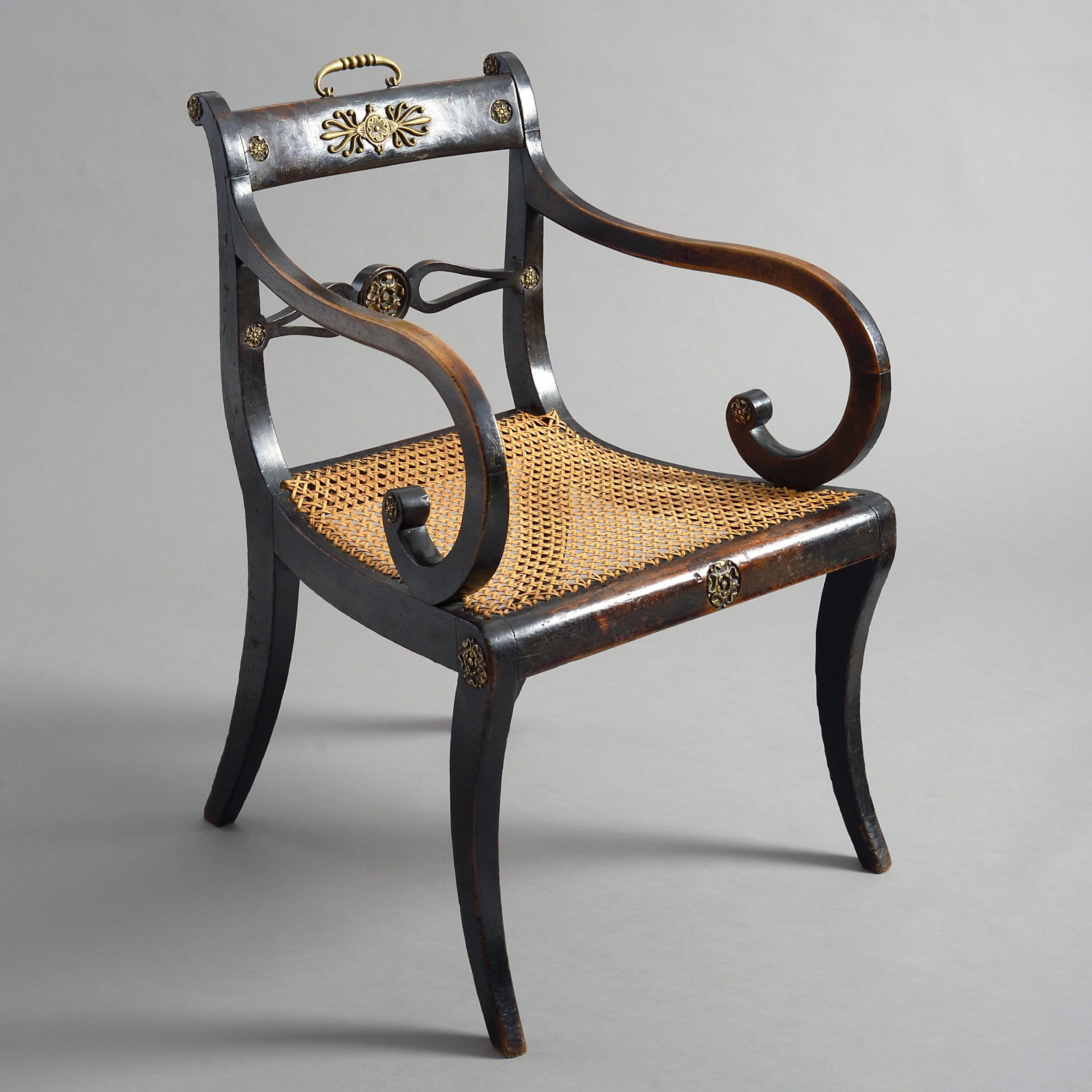 fine early 19th century regency period ebonised armchair or desk chair