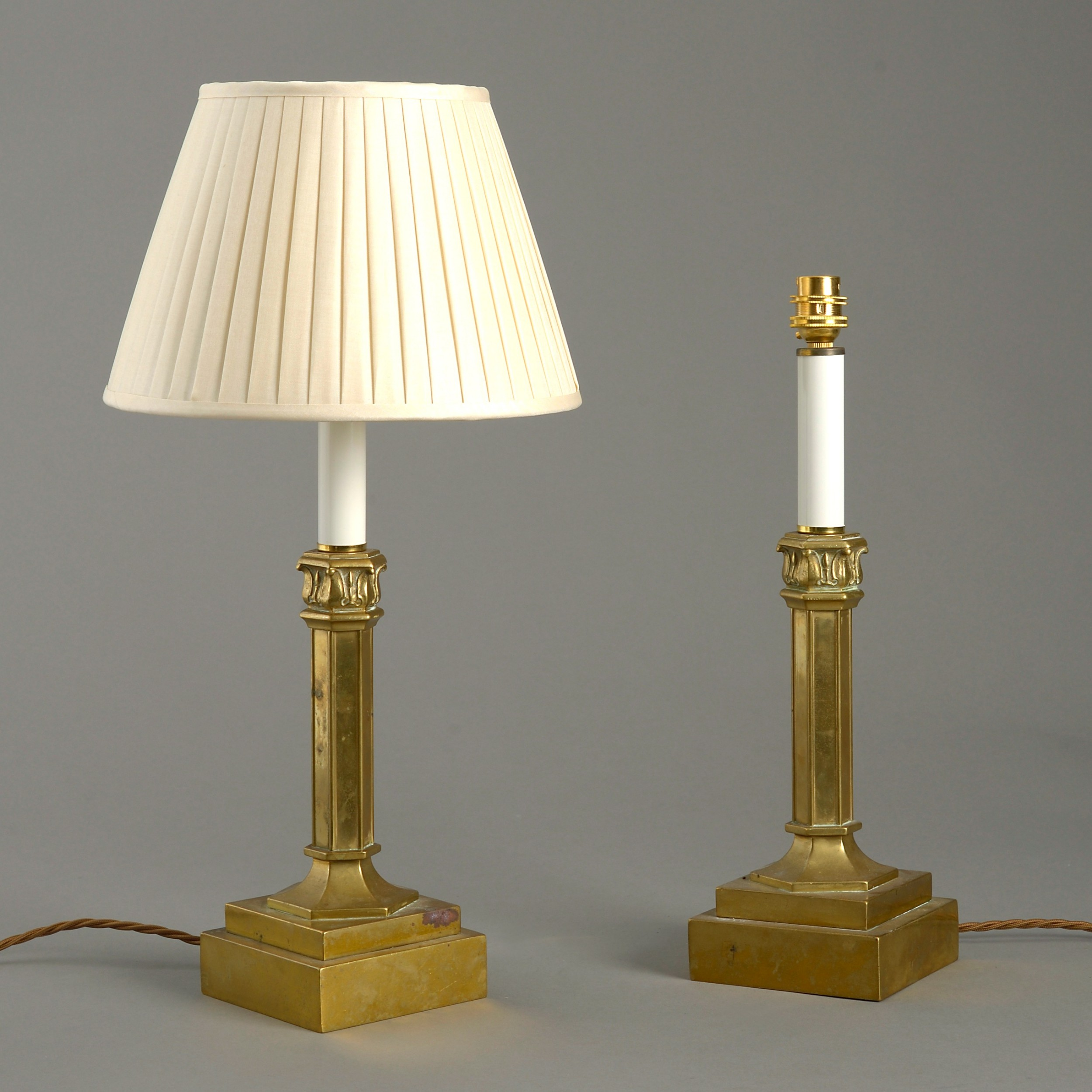 mid19th century pair of gilt brass table lamps