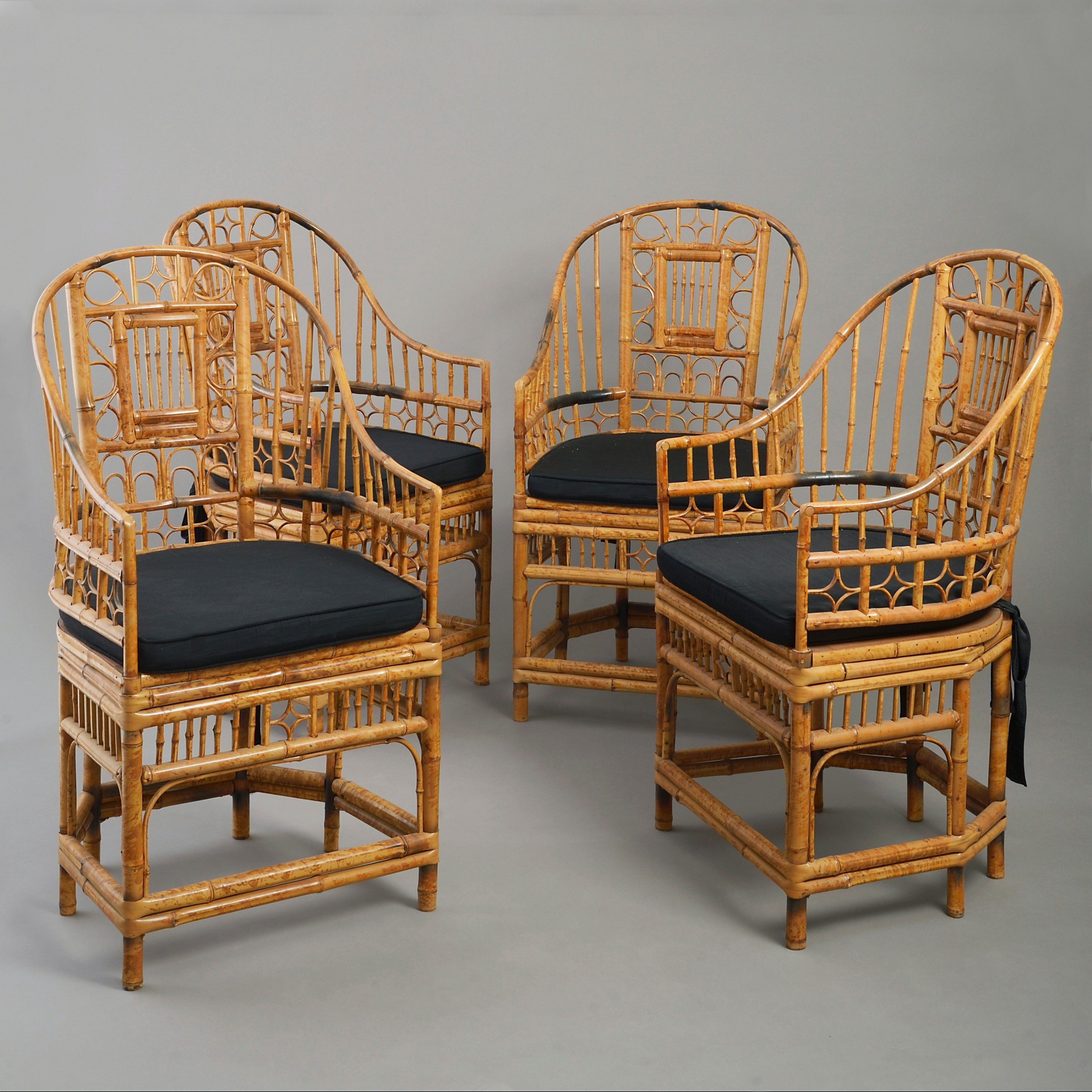 four chinese export bamboo armchairs