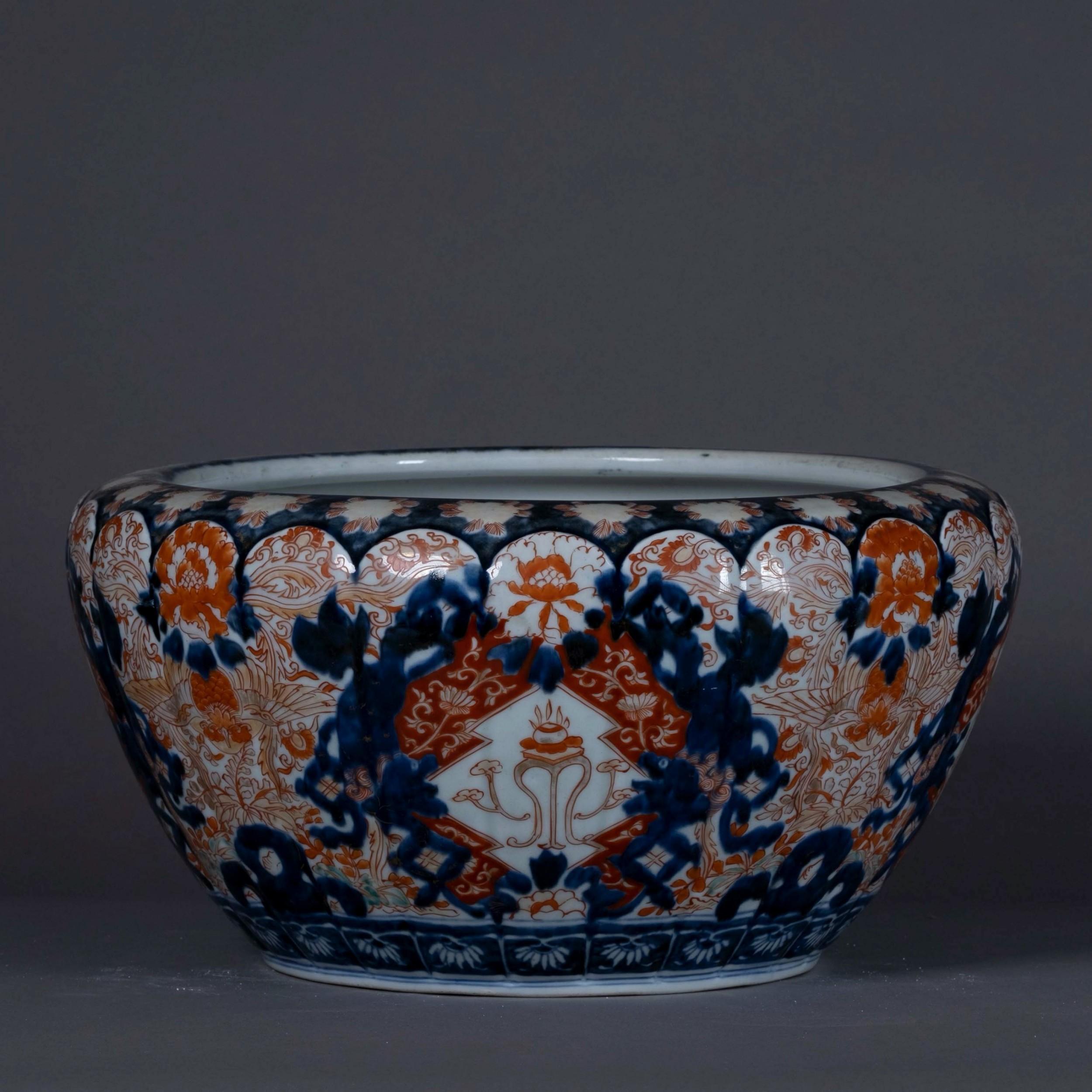 large 19th century imari porcelain bowl