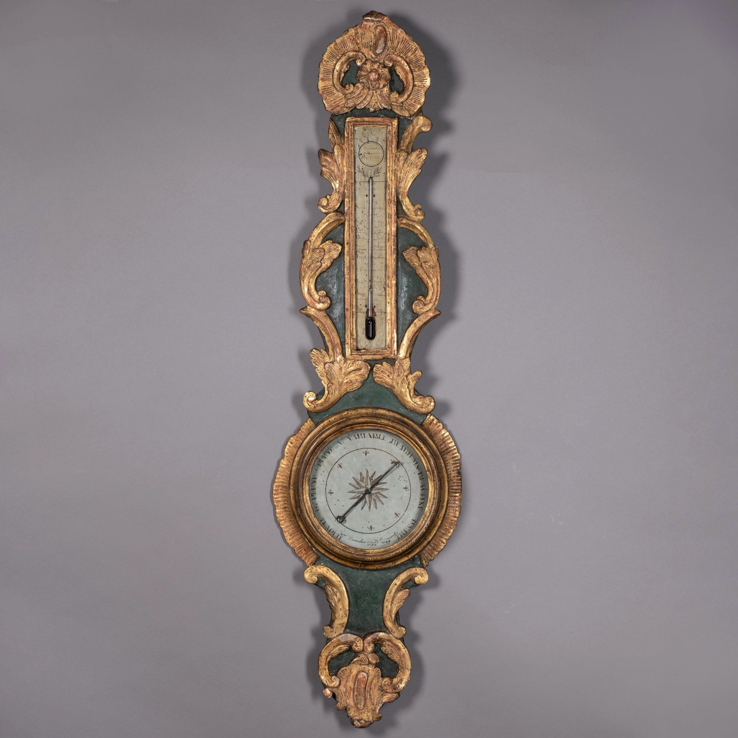 18th century louis xv period painted and parcel gilded barometer