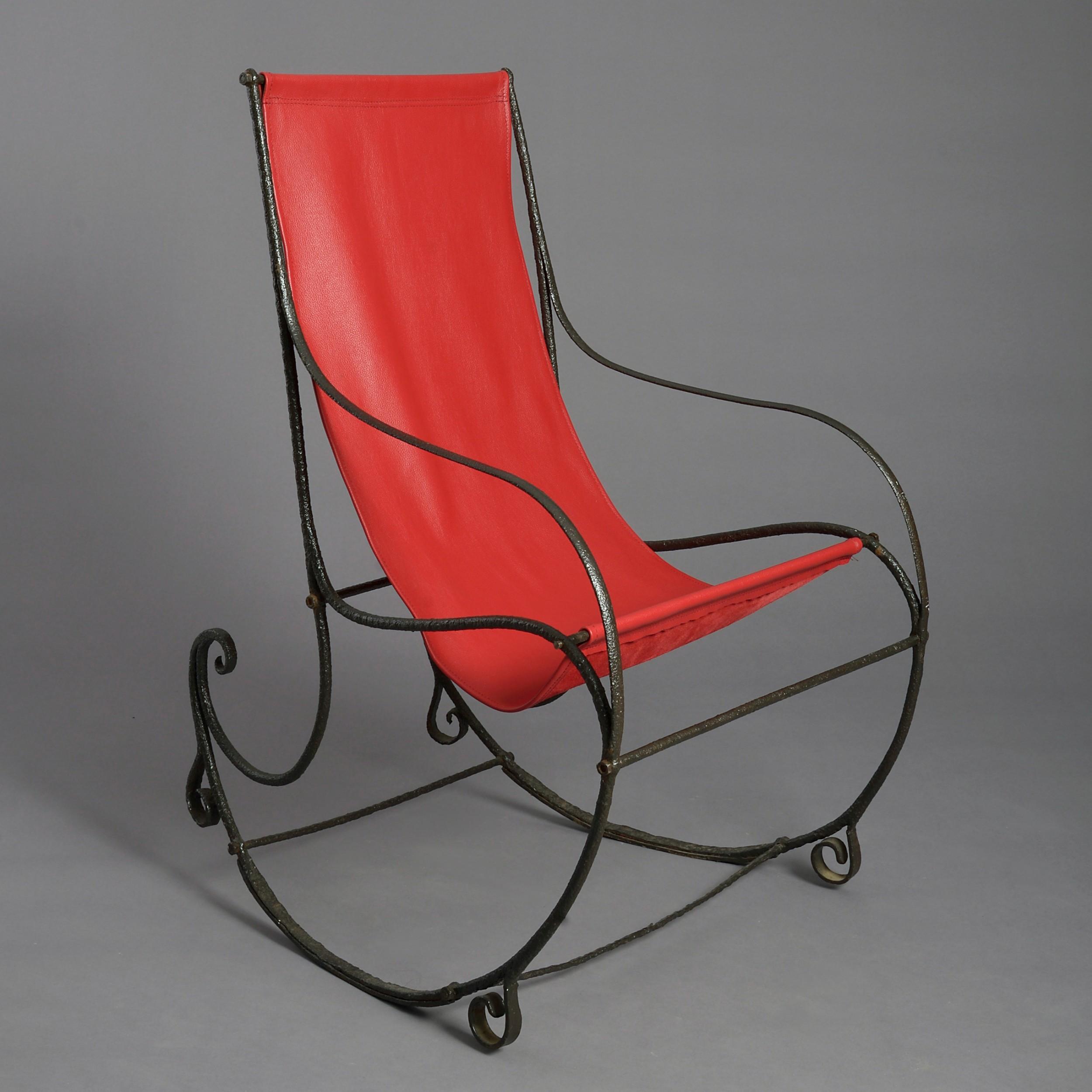 19th century regency period cast iron rocking chair