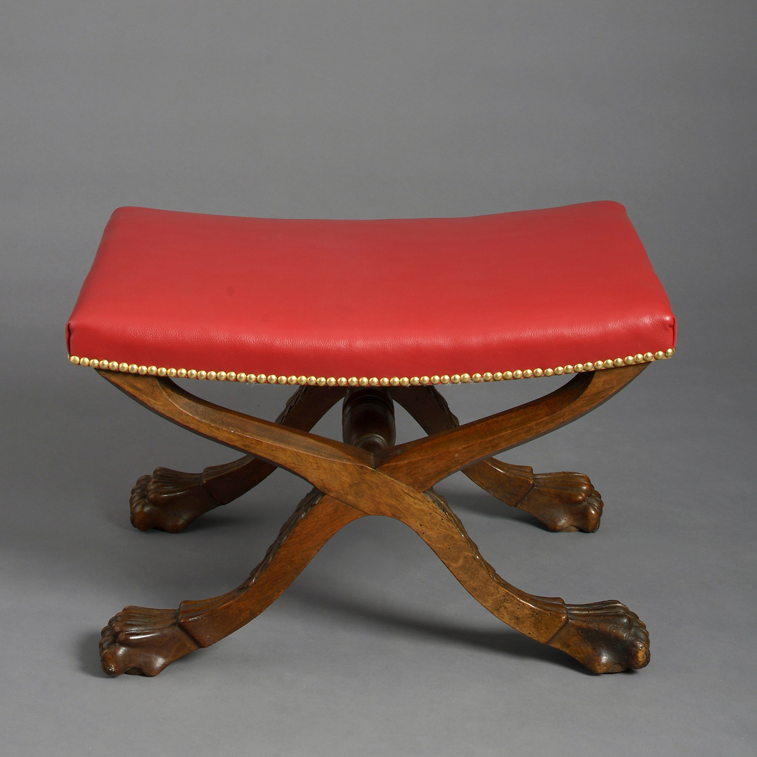 19th century carved walnut xframe stool with red leather seat
