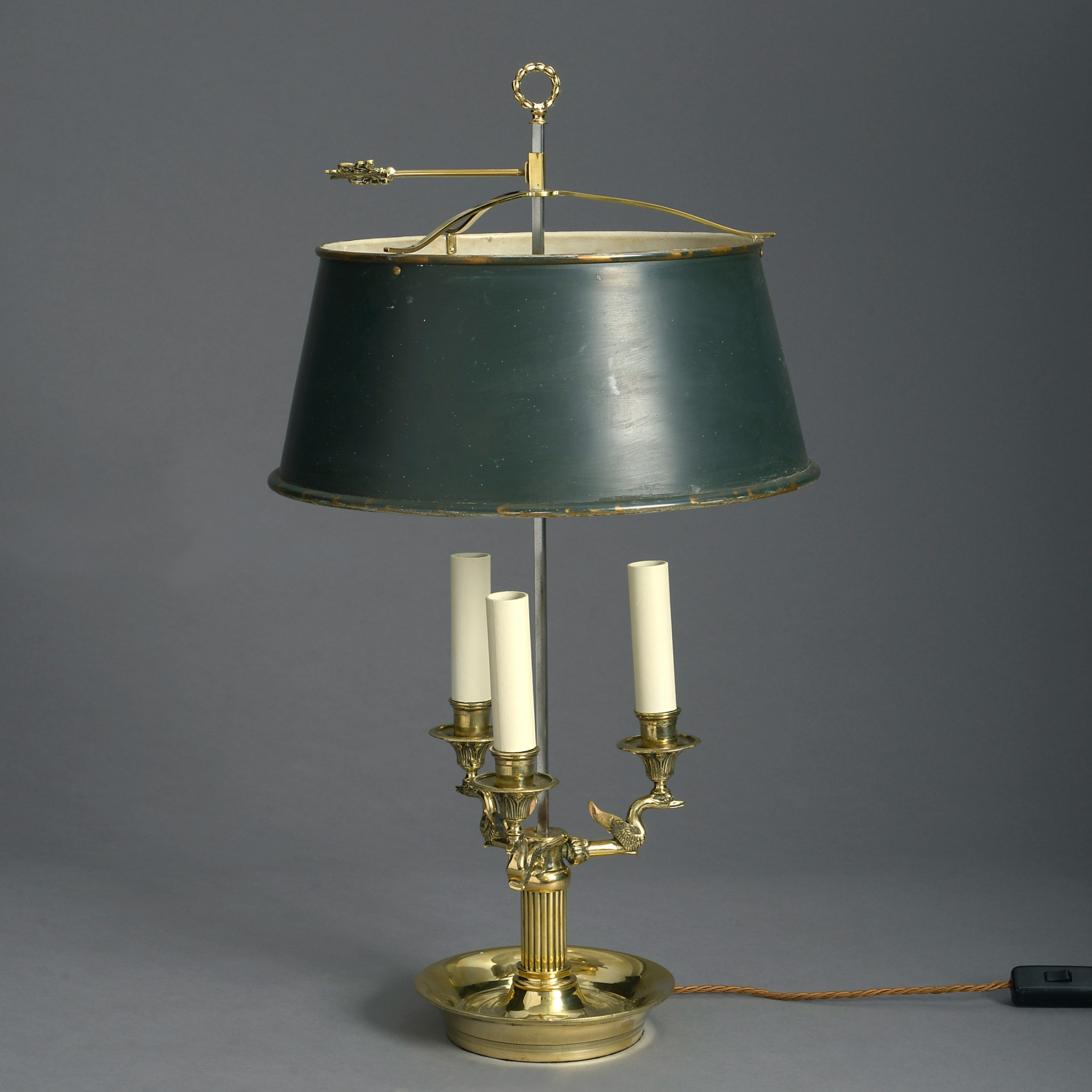 19th century brass and tole bouillotte lamp