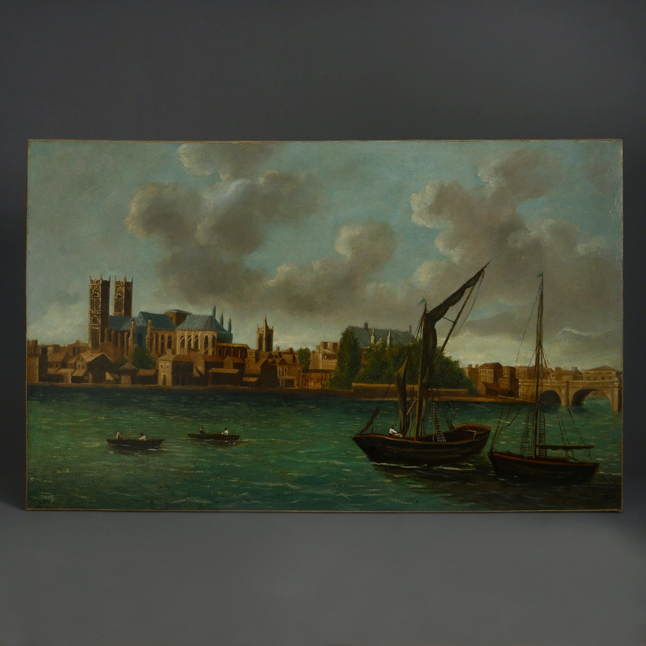 18th century view of westminster london from the thames oil on canvas