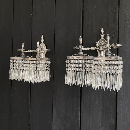 pair of silver nickel and crystal wall lights circa 1910