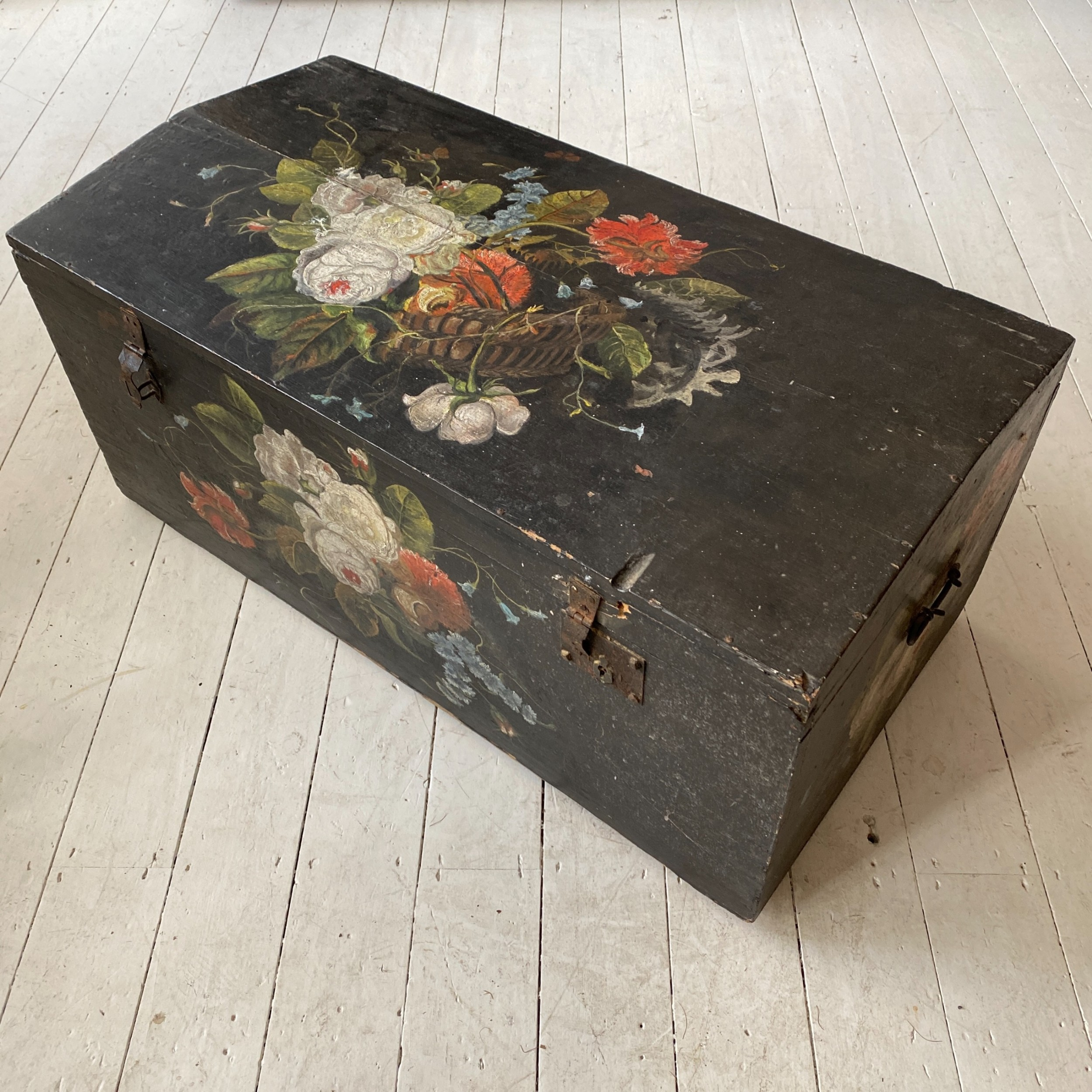 19th century ebonised and painted pine trunk