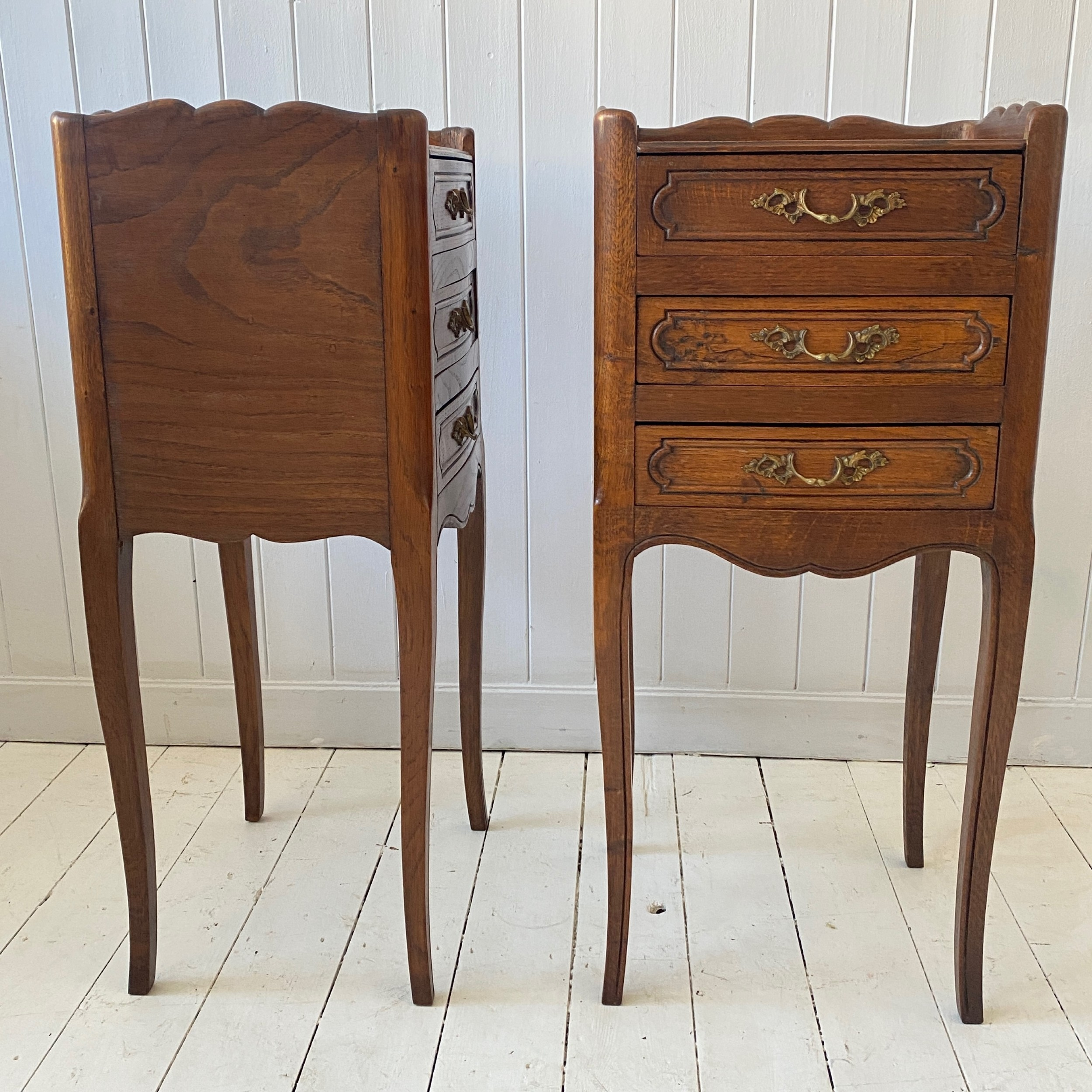 pair of french oak and elm bedside or lamp tables