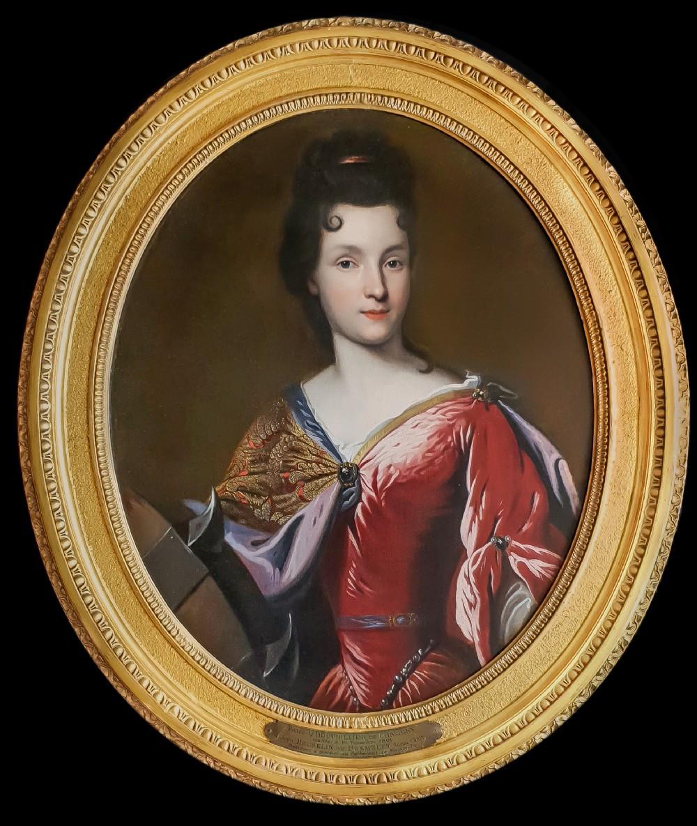 portrait of rene bouthillier de chavigny as saint catherine c1690 circle of francois de troy 16451730 oil on canvas painting