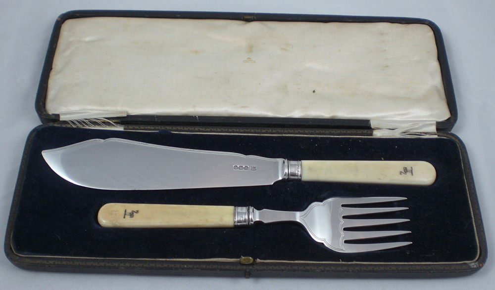 pair of george v cased hallmarked sterling silver and ivory fish servers by frederick c asman co
