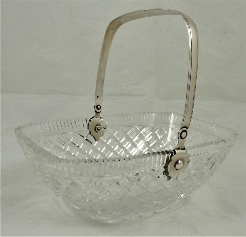 19th century dutch cut glass basket with silver handle