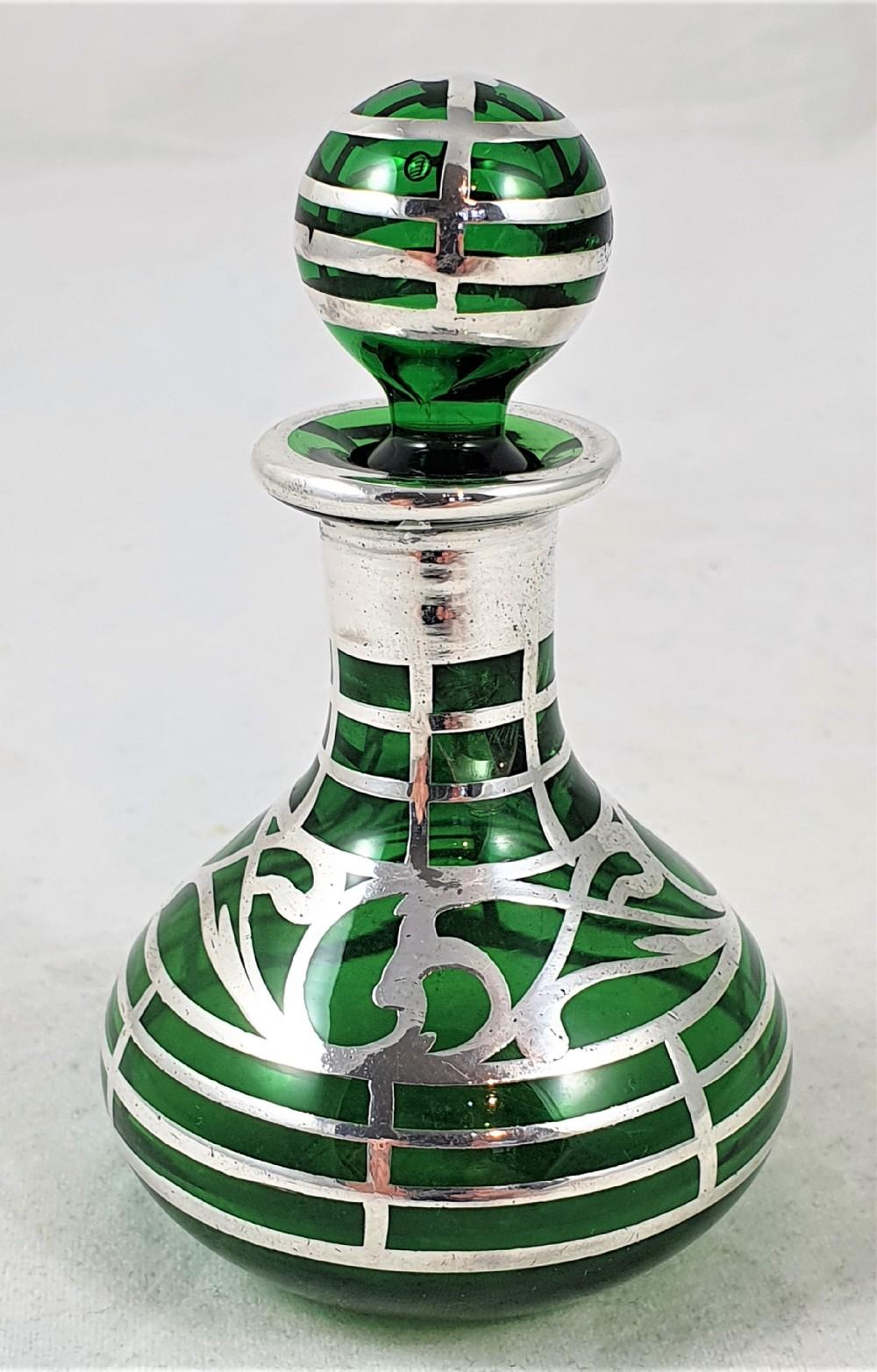 american art nouveau green glass silver perfume bottle