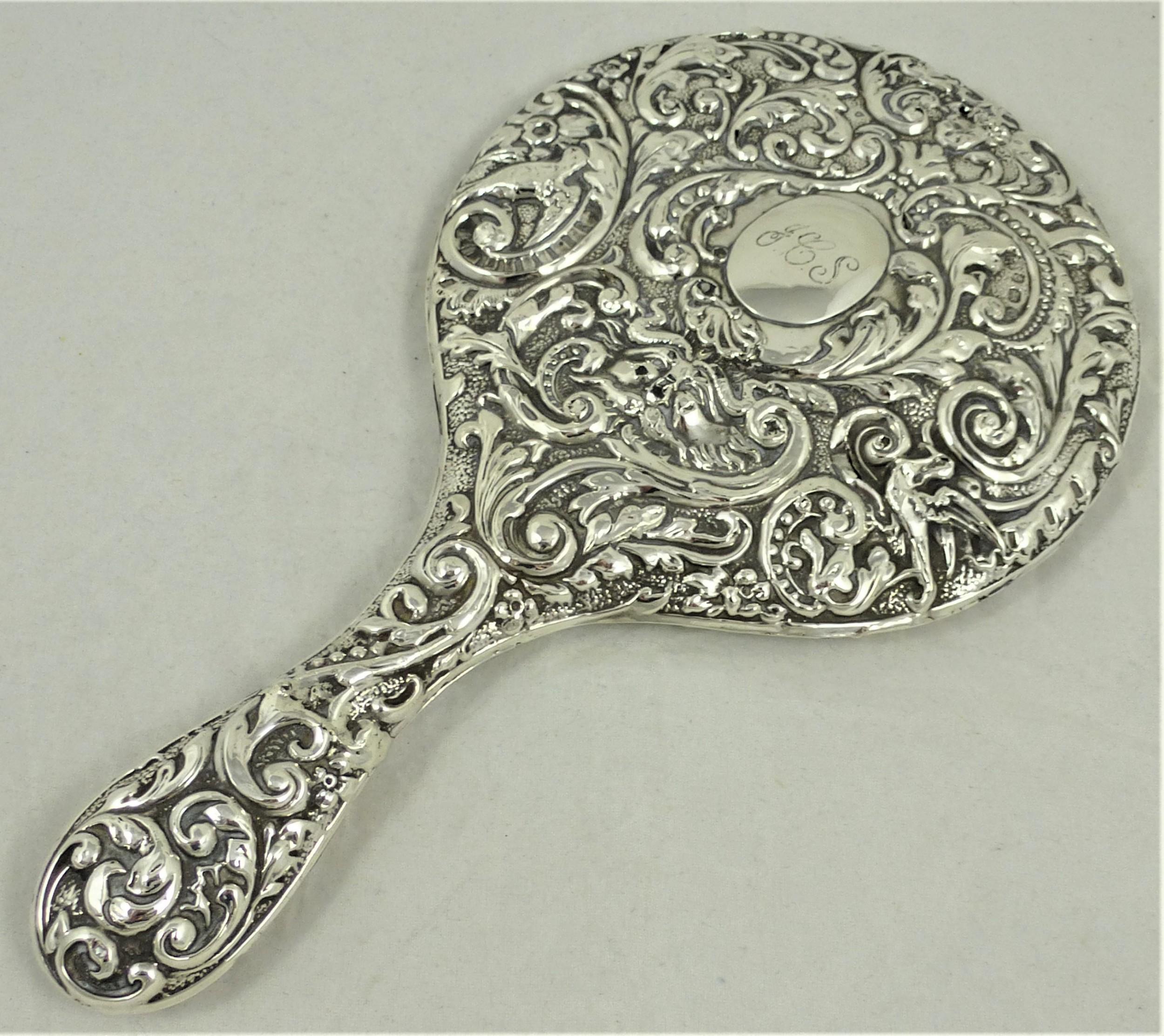 edwardian sterling silver hand mirror