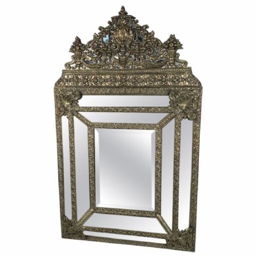 large french repousse brass cushion frame mirror 133cm